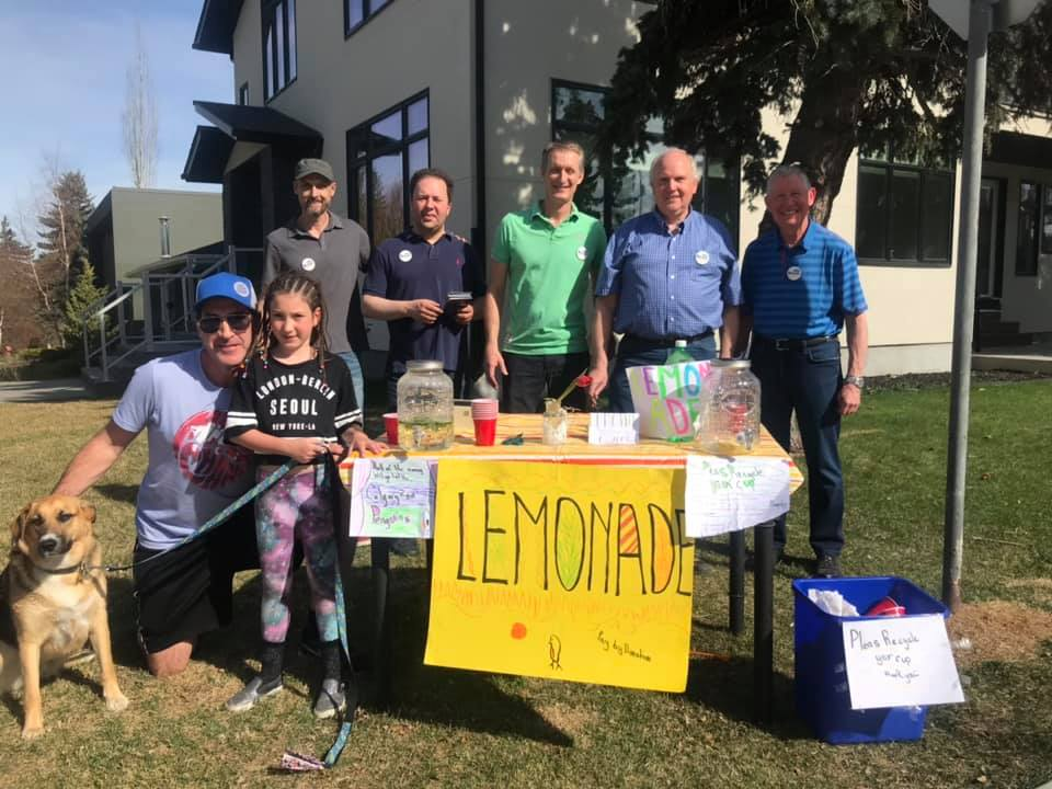 Doorknockers need to stay hydrated on hot days. Thank goodness there are still lemonade stands! This was Saturday May 11, after doorknocking in the snow last weekend.