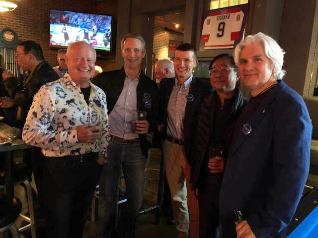I joined many friends on Friday May 17 to celebrate the great campaign we worked on during the provincial election for Tom Olsen in Calgary Buffalo.  Here I'm with Tom (right to left), along with Ed Tam, Councillor Jeromy Farkas, and Hal Walker.