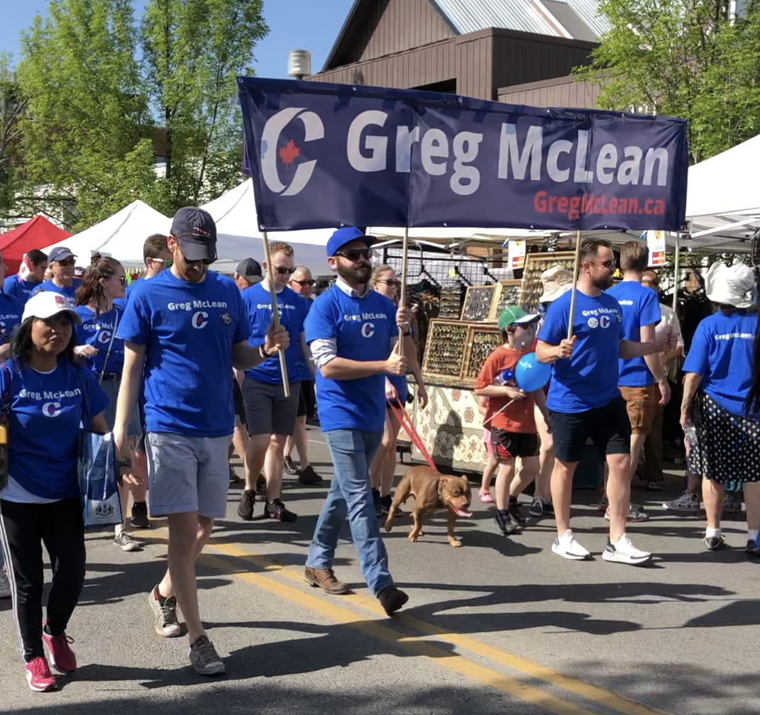 It was the Lilac Festival on Sunday June 2. We had dozens and dozens of volunteers in the Parade, and then again at the Greg McLean-Calgary Centre tent.