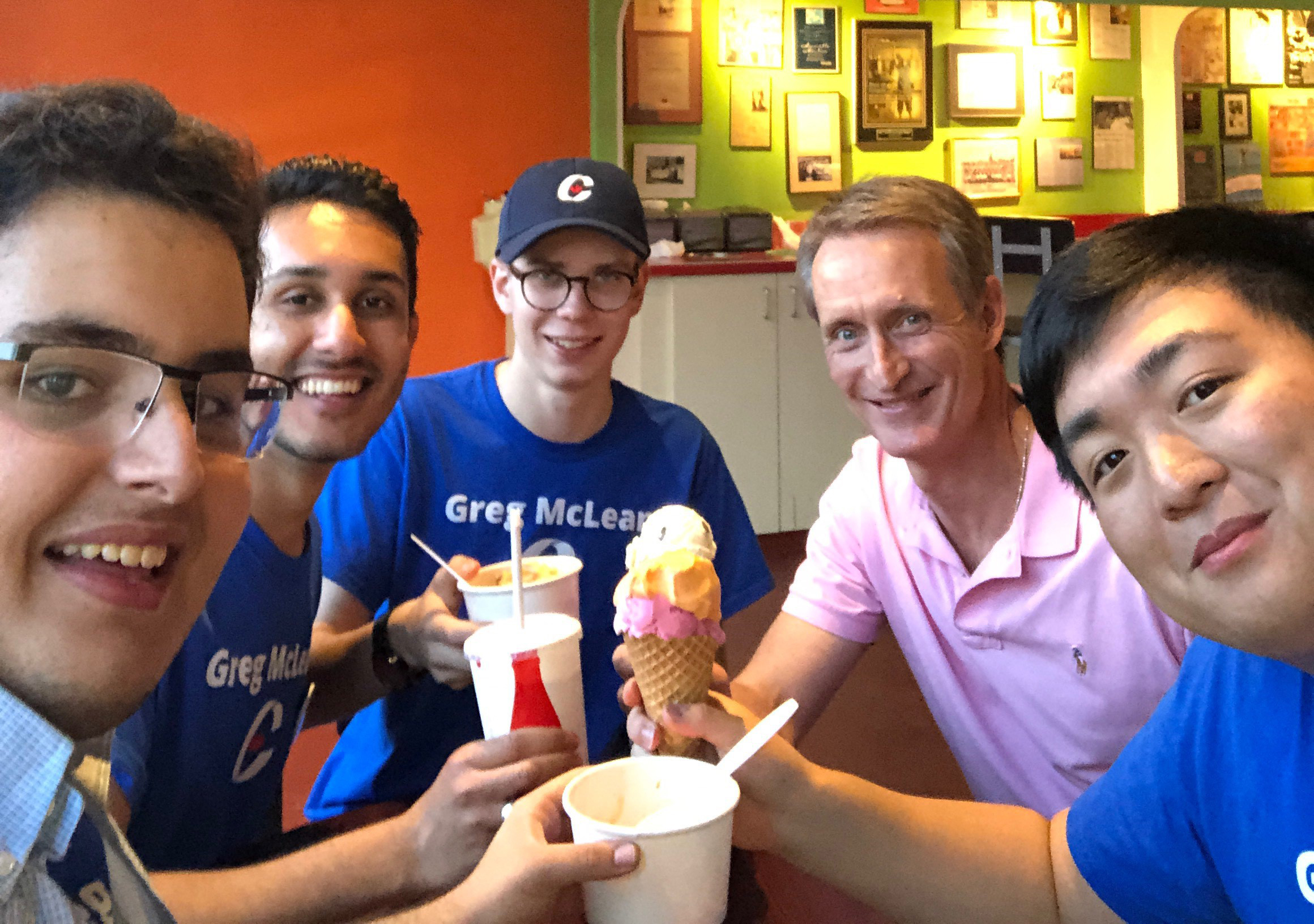My favourite Ice Cream Store. Ice cream with the team! Note that my much smaller cone is hidden by the big appetites. These guys earn it.