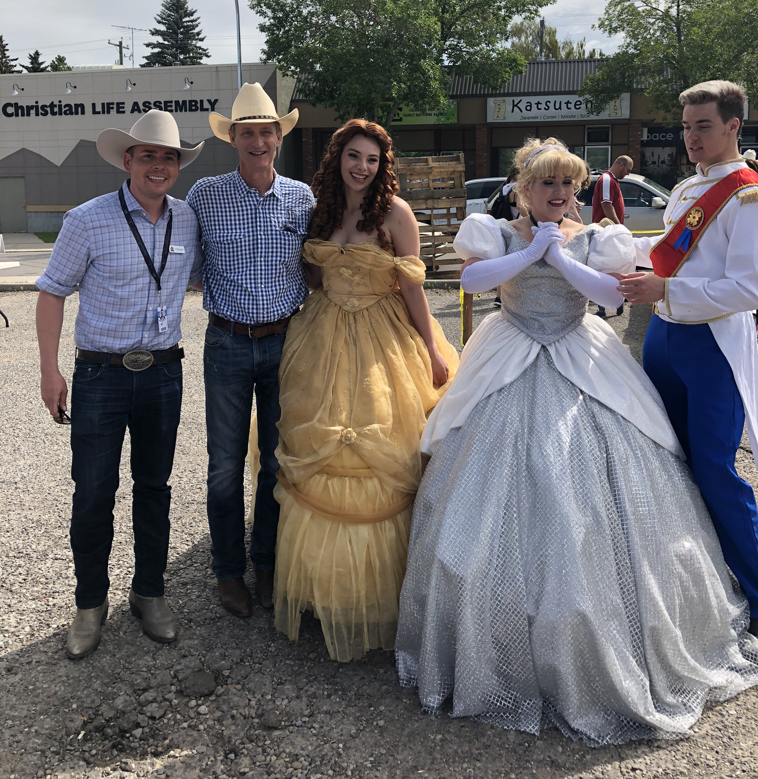 "Possibly the most unusual picture in the Stampede Gallery. MLA Nick Milliken with ""the Richmond Royalty""."