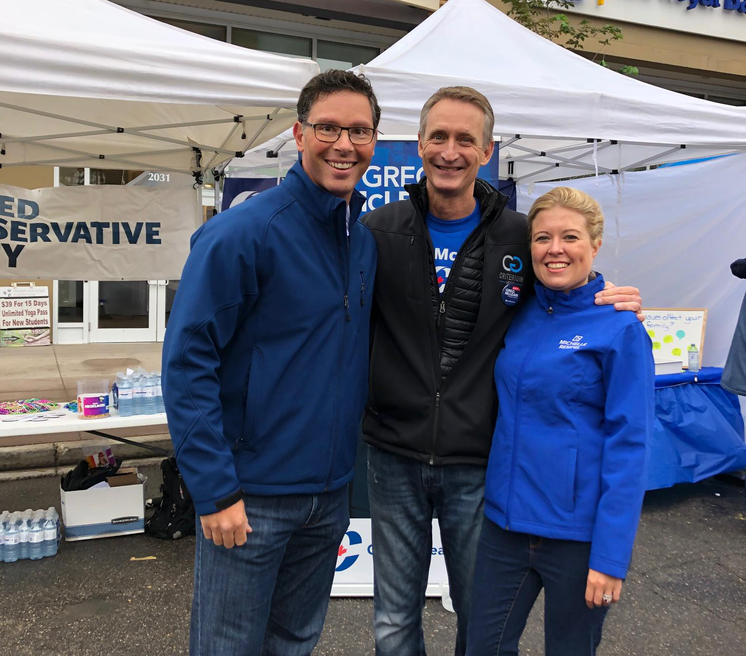 Pictured with Calgary Elbow MLA Doug Schweitzer and Calgary Nose Hill MP Michelle Rempel Garner.