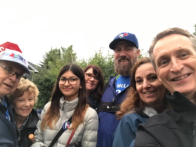 The team was going up the hills of Elbow Park on August 12 -- and the support at the doors was worth the work in the rain. Yesterday was the 70-day countdown to hitting every door in Calgary Centre! PS - doorknocking is great exercise. Come join us!