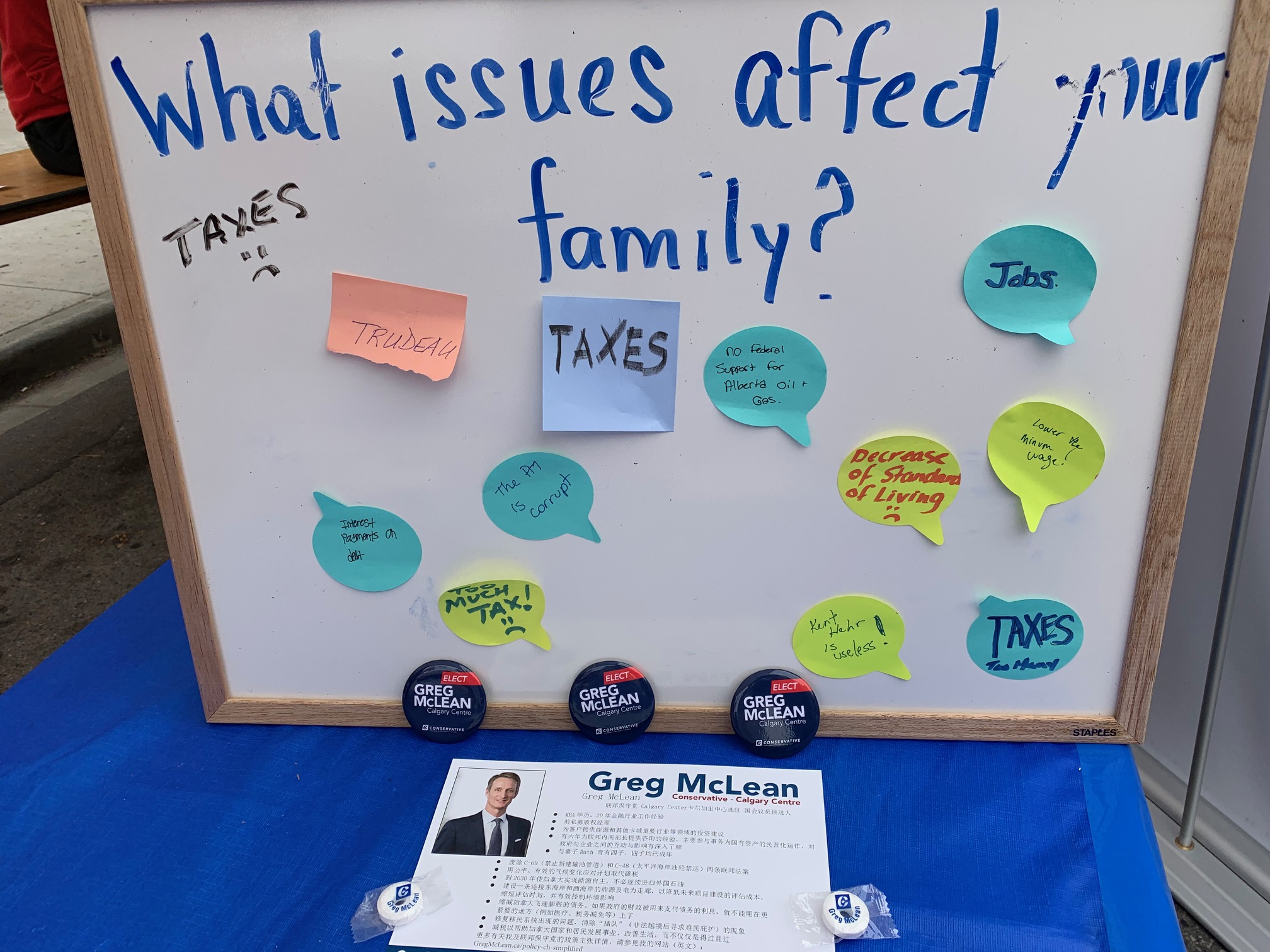 At the summer festivals, we have put a board in our tent and invited people to tell us what concerns them. Here is the board from the Chinese festival yesterday. Jobs and taxes play big.