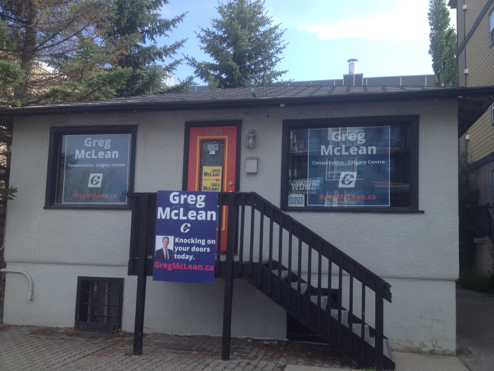Our new campaign HQ is now operational at 2409 - 33rd Ave (on the south side of 33rd, just east of Crowchild Tr). Calgary old-timers will remember this place as the former Smilin' Buddha Tattoo Parlour - a local institution! More recently, it served as Greg Clark's campaign HQ in the provincial election.