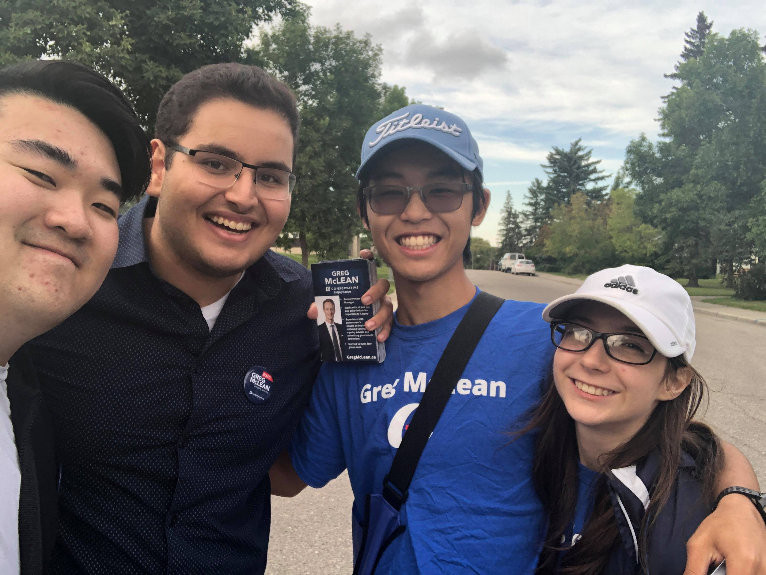 One of our teams was knocking on doors in Parkhill earlier this week, on August 19. I love having so many young people on the campaign and hope I don't lose them all when university starts up again!