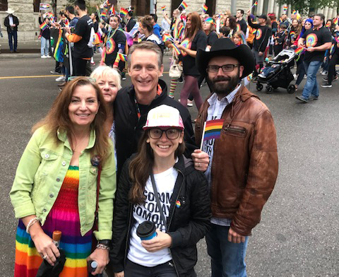 Check out the perfect dress Ruth found to wear to the Pride Parade. The fellow in the black hat is Dustin Franks, my deputy campaign manager.