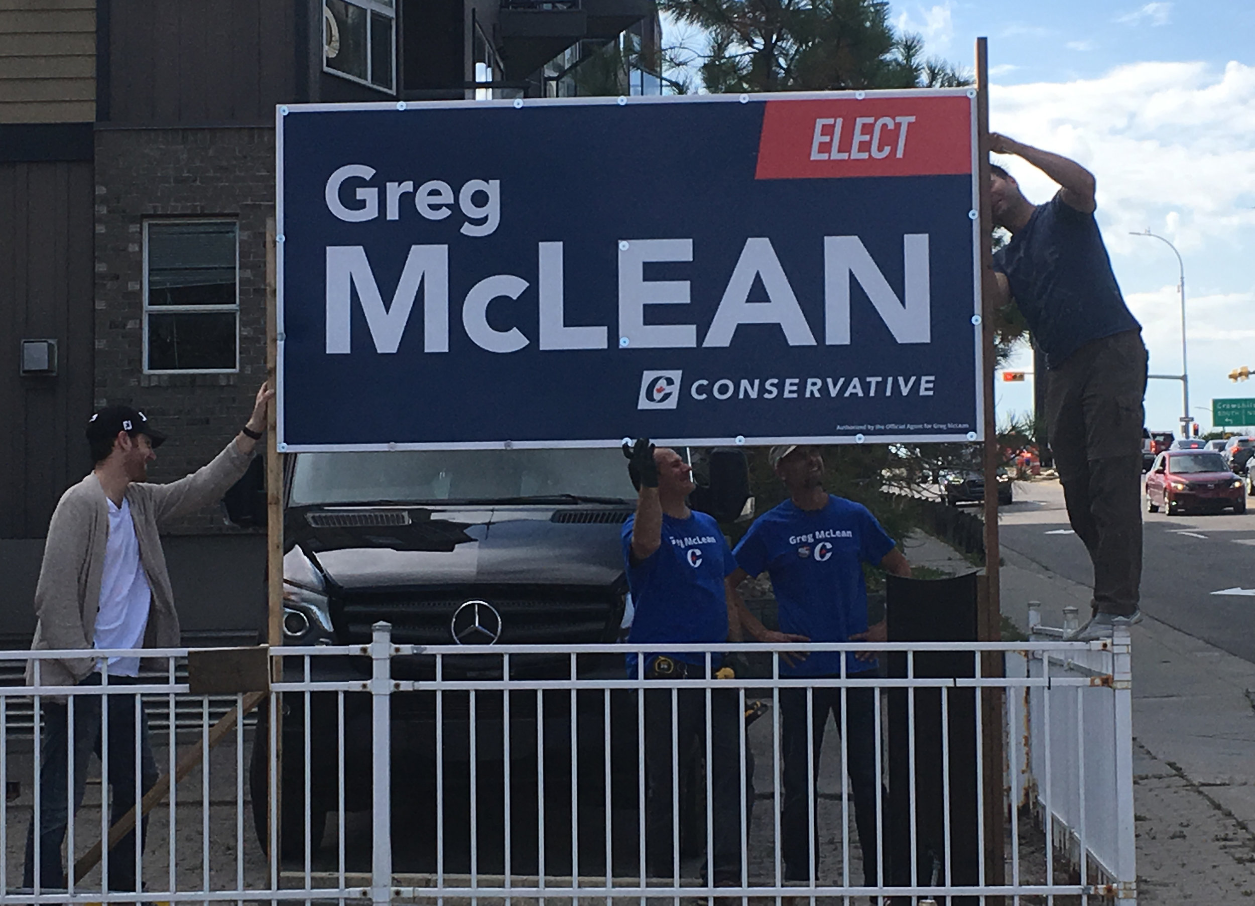 And the last task on what was a very productive day ... putting up the sign in front of our HQ. Great visibility on busy 33rd Avenue SW, just off Crowchild.