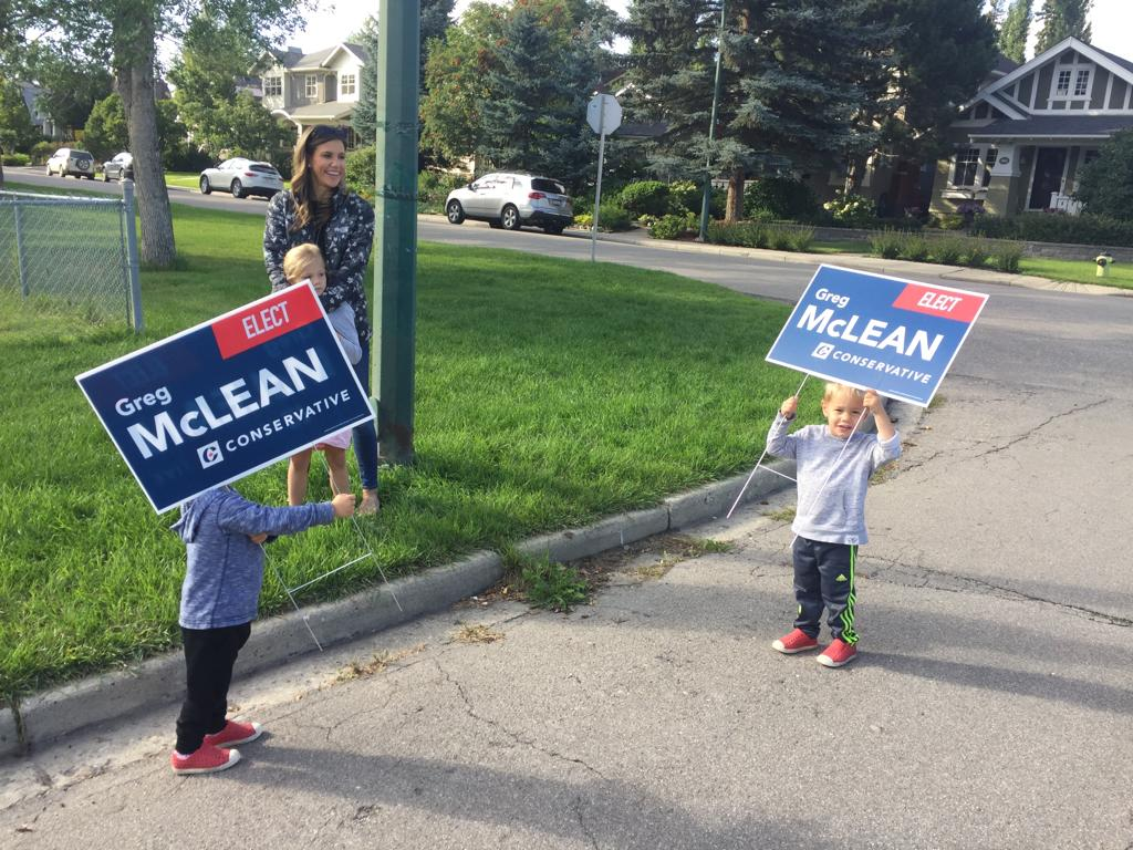 Good to start them young! Can't vote, but they can put up signs!