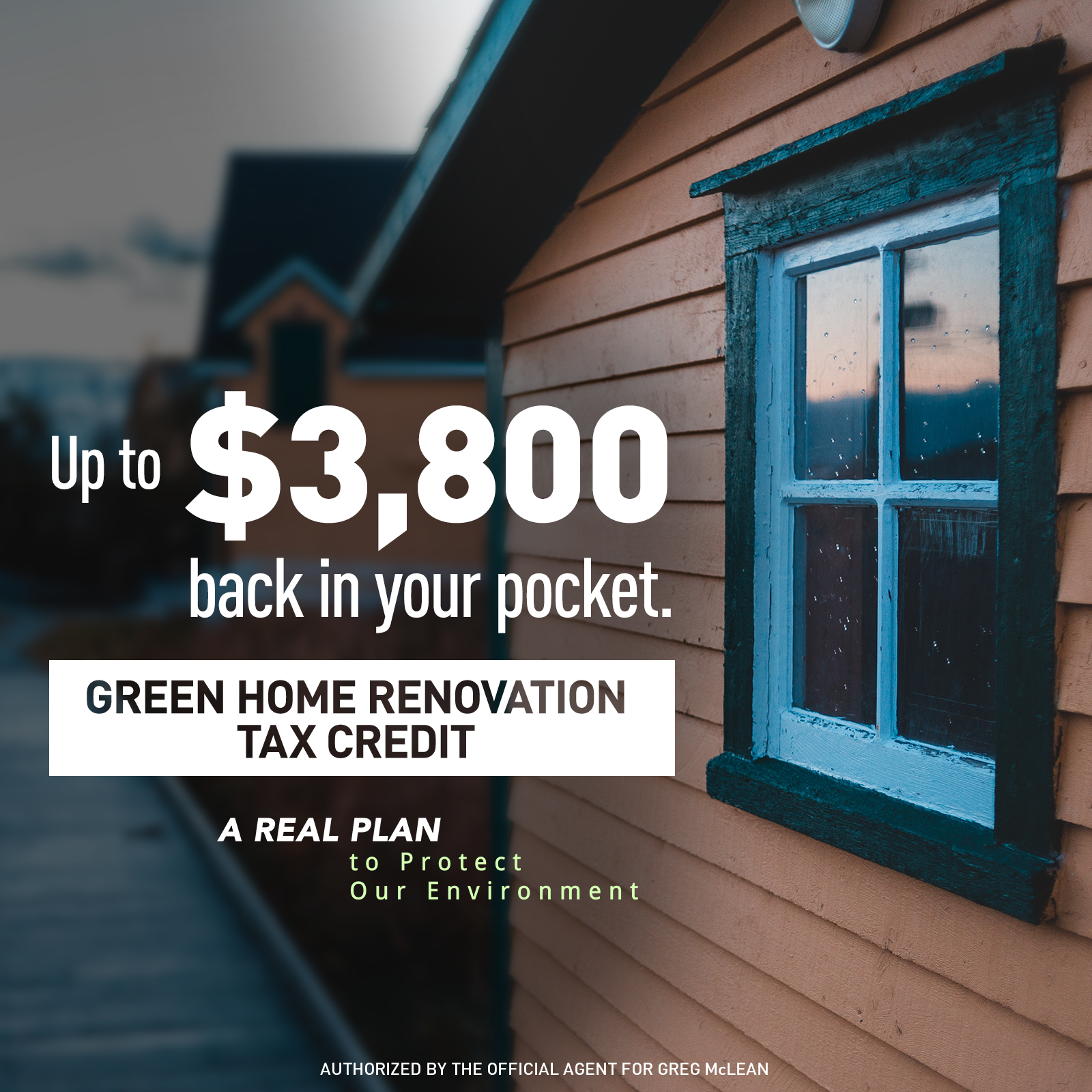 Green Homes - Conservatives will introduce a Green Homes Tax Credit for green home renovations and improvements. Canadians will be eligible to receive a 20% refundable credit for green improvements to their homes of over $1,000 and up to $20,000. This will allow Canadians to save up to $3,800 on their renovations each year.- The Green Homes Tax Credit will save Canadians money in the short term and in the long term. These home improvements do not just save energy; they can also save money through lower home energy costs. Green home improvements can contribute to the value of your home as well.- We want to encourage all Canadians to play a part in the fight against climate change. In 2017, buildings represented about 12 per cent of Canada's emissions, or 85 megatonnes of carbon dioxide equivalent. The Green Homes Tax Credit will help reduce emissions here at home.- The Green Homes Tax Credit is a two-year plan to encourage and incentivize Canadians to adopt green home improvements.- Enviro Economics estimates that the Green Homes Tax Credit will reduce emissions by 9.02 megatonnes, resulting in energy savings that remain permanently after any retrofitting is complete.