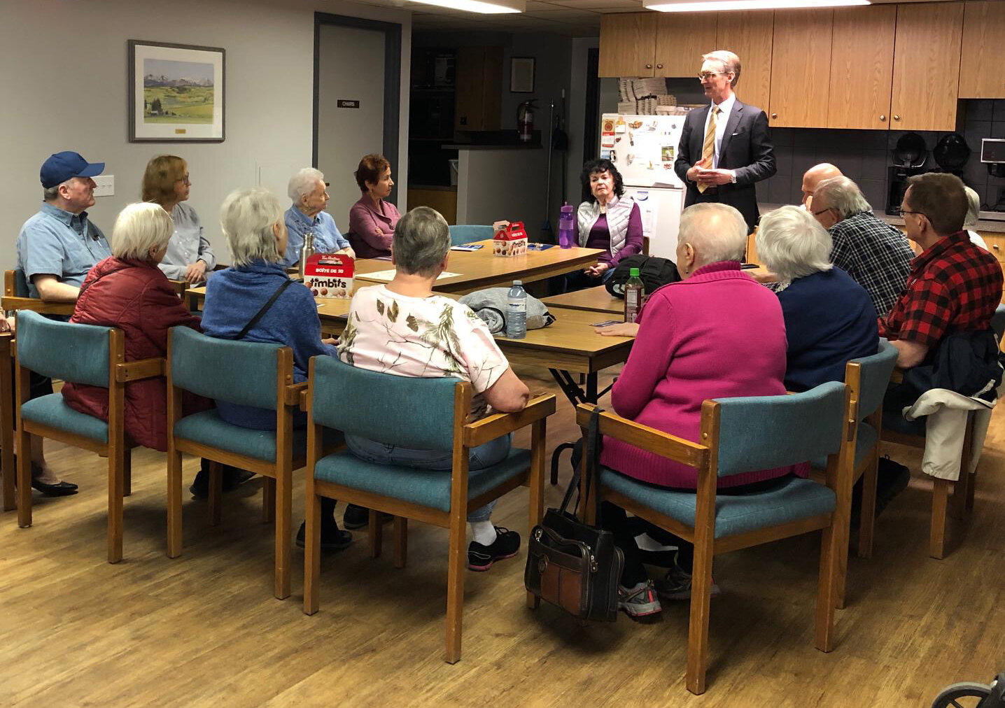 Talking to the residents at Grace Gardens on October 17.