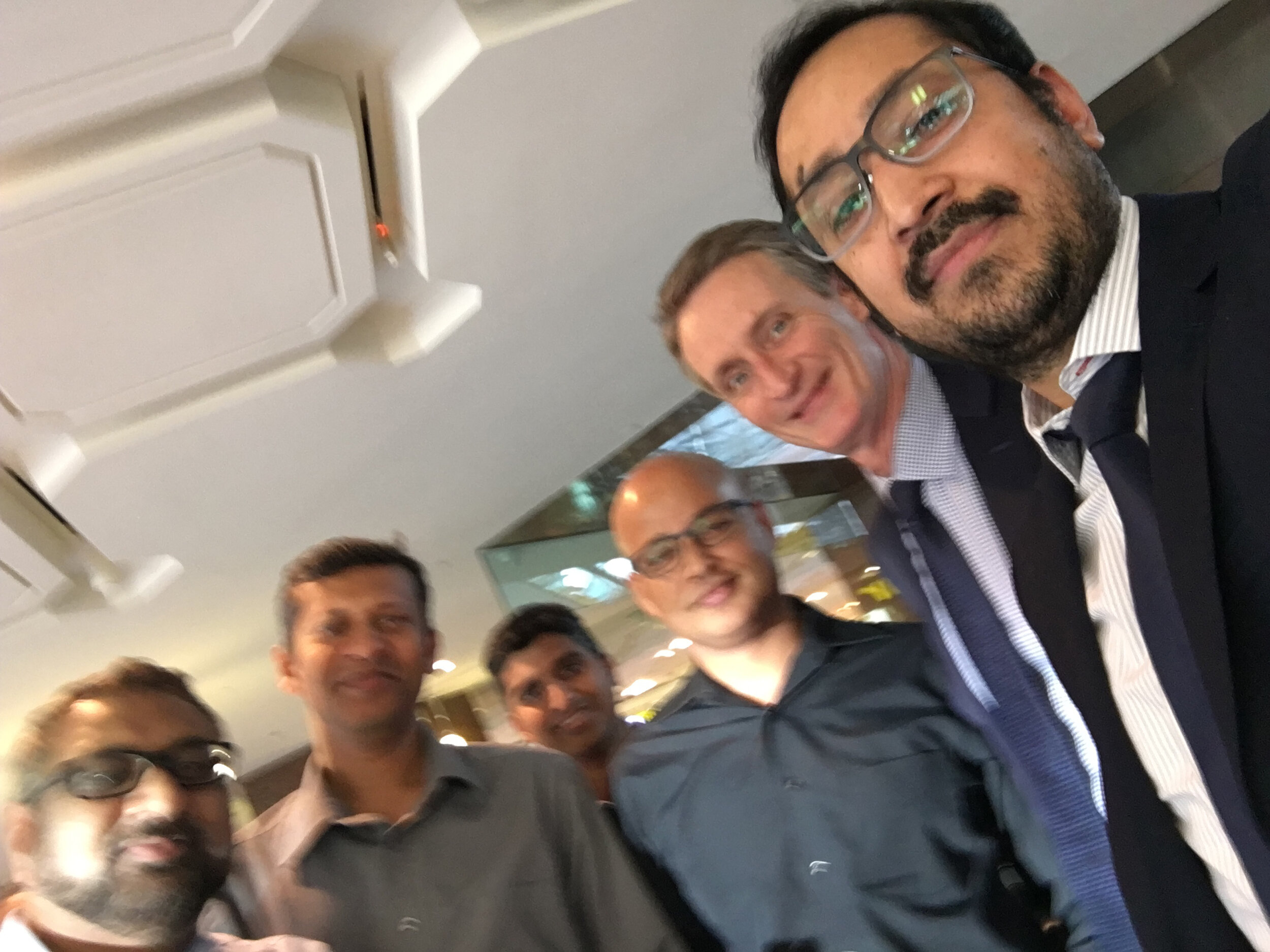 The picture is blurry but I assure you the team was sharp in downtown Calgary yesterday! (Oct 17)