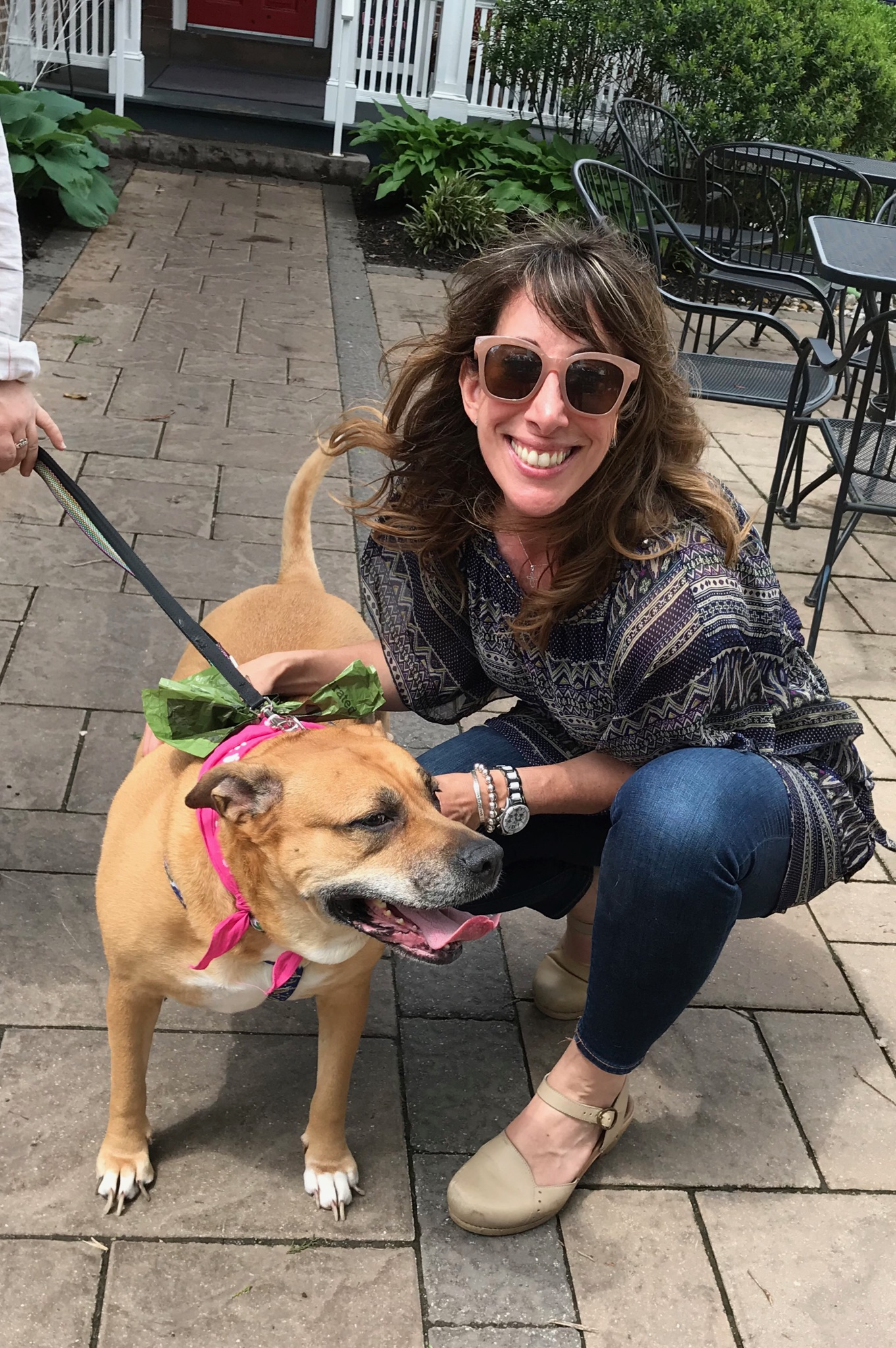 Volunteer Beth Caruso helps find Hannah a home at an Animal Alliance adoption day at her restaurant Caffe Galleria.