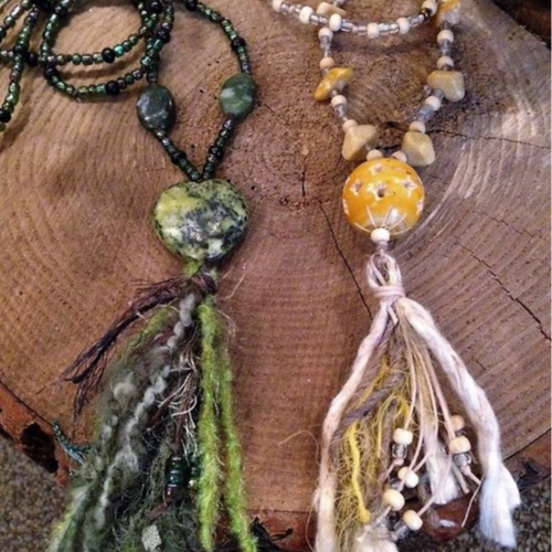 Knotted Tassel Necklace - Gather your favorite beads and fibers to create your personal knotted tassel necklace! First choose your focal piece from a generous assortment of styles and materials, and then work with waxed cording and glass, wood and stone accent beads. Finish it off with a tassel made with your choice of fun fibers of various colors and textures. Ages 12+, approximately 2 hours.All materials provided to wear your creation home.Instructor: Lisa JarrellWorkshop fee: $20 per person, minimum 6, maximum 12
