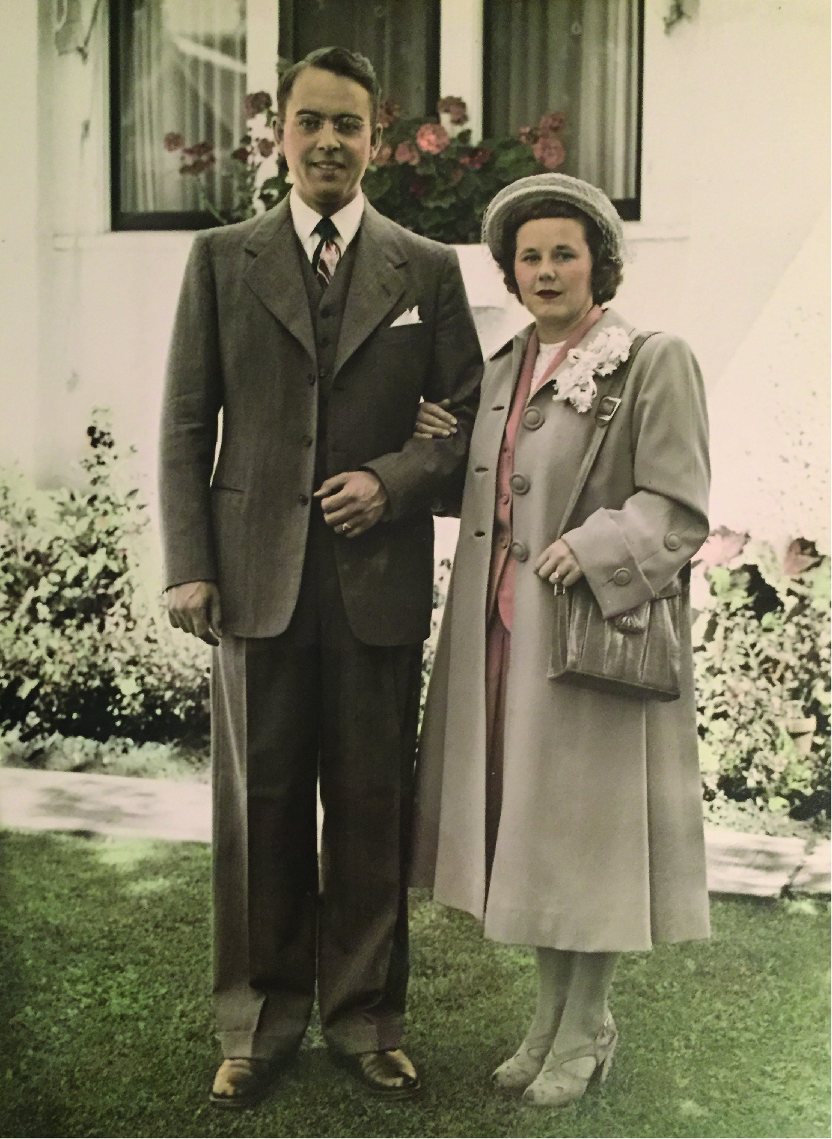 Robert and Evelyn Black as they depart for their honeymoon