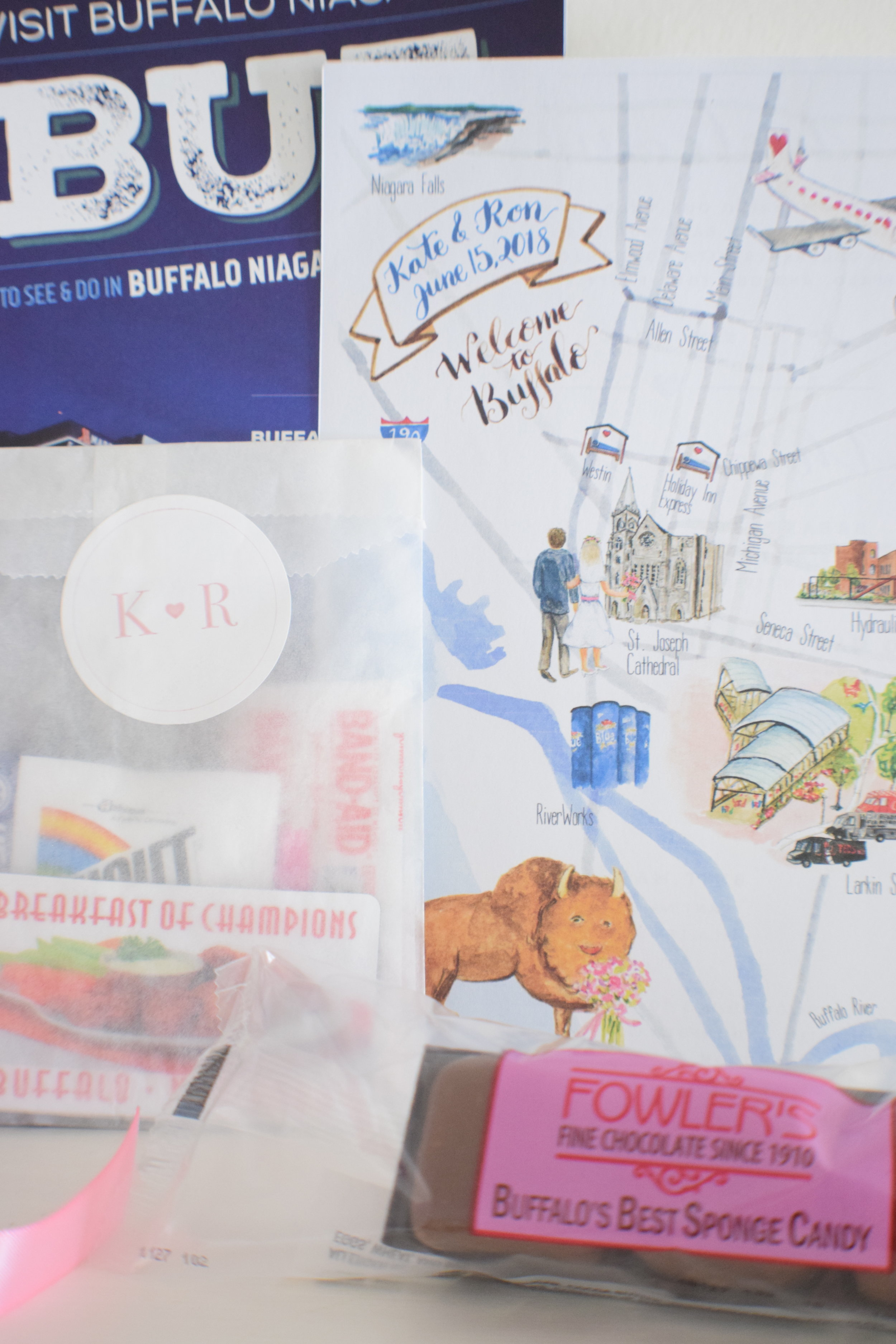 Idea for a room drop - something local. Example of Buffalo wedding hotel room drop | Social Maven Wedding Planners