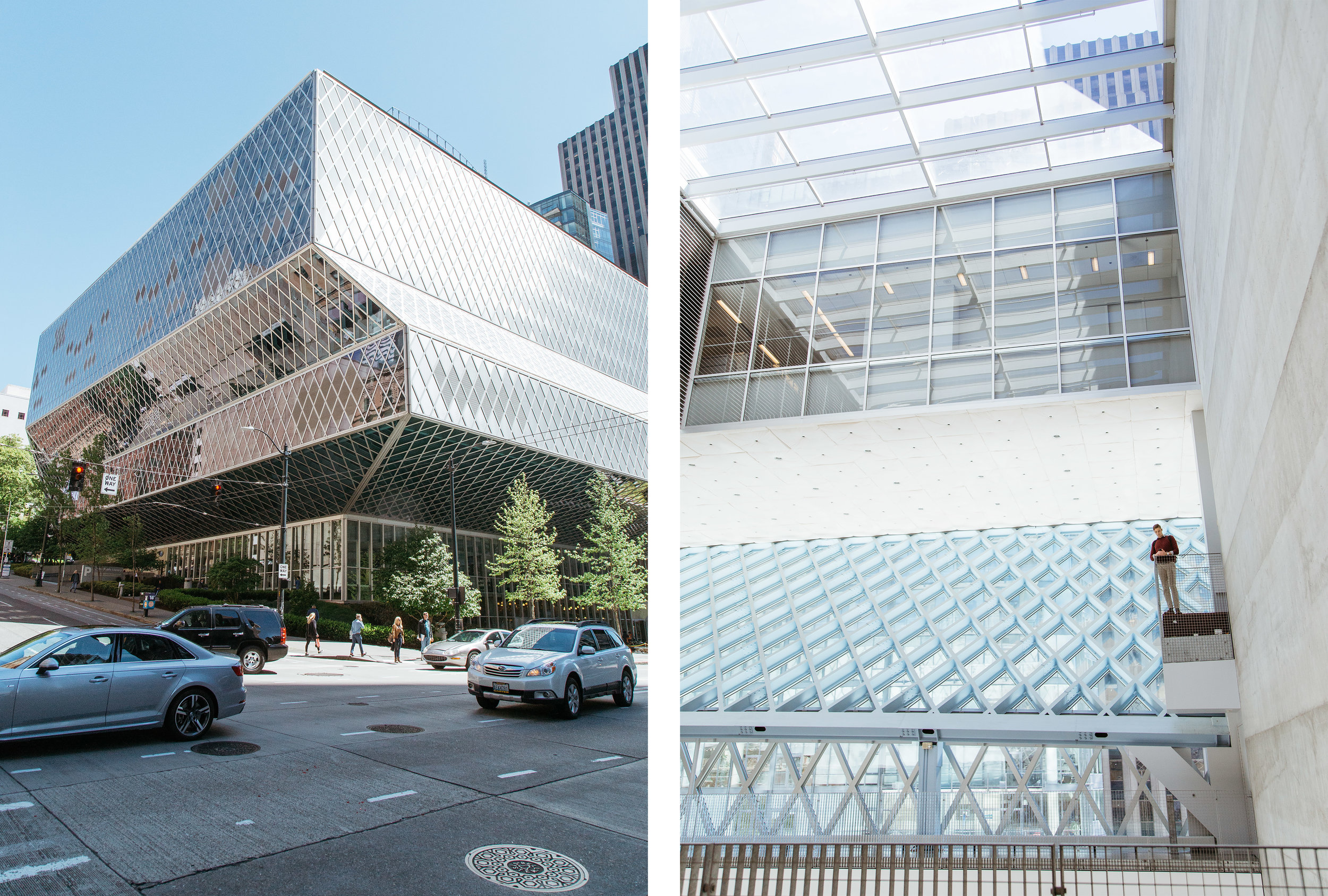 The exterior (left) and interior (right) of The Seattle Public Library.