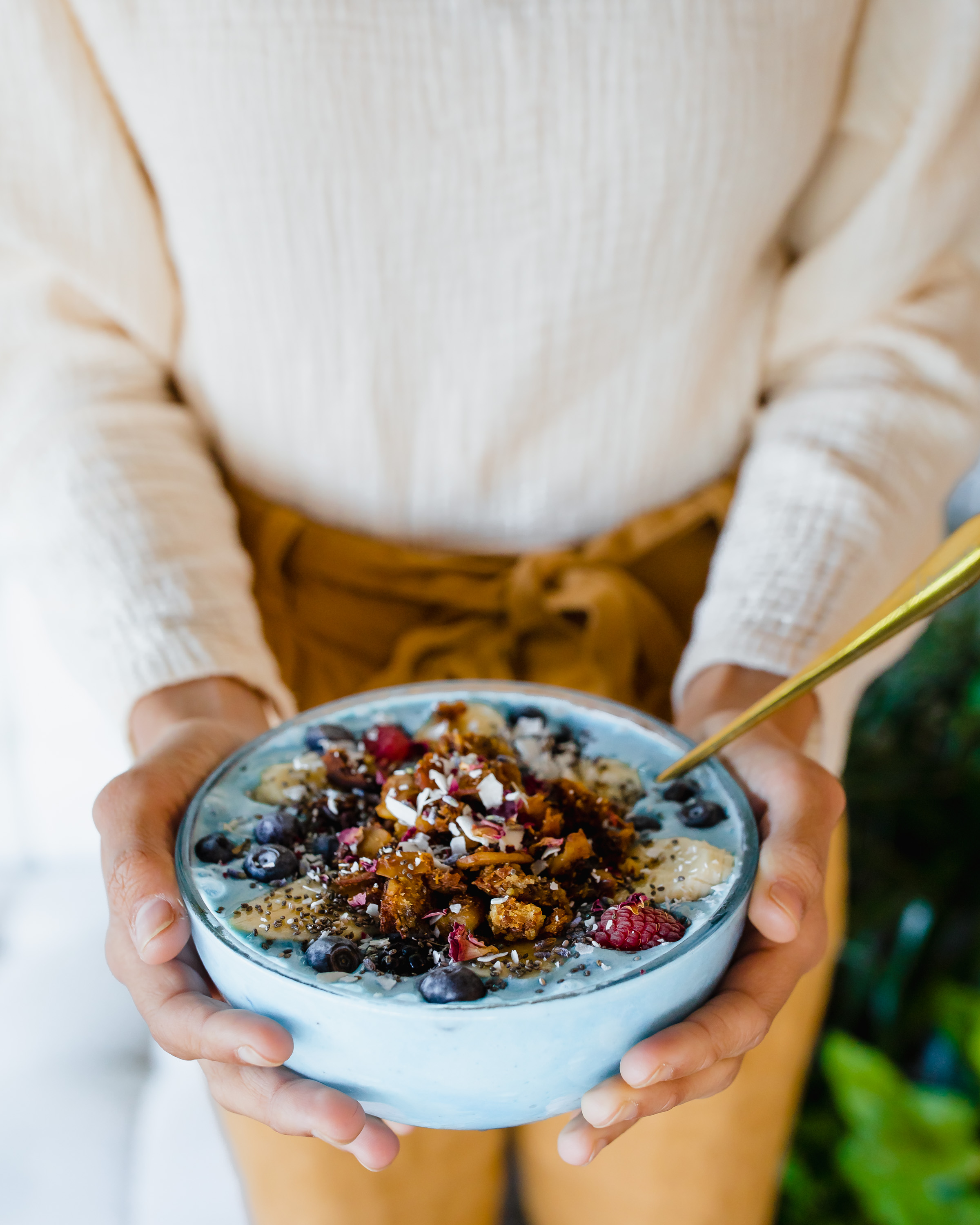 Blue Majik Smoothie Bowl - Made with Blue Majik, banana and coconut yogurt, this smoothie bowl is full of color and flavor. I loved the house- made granola and berries on top.