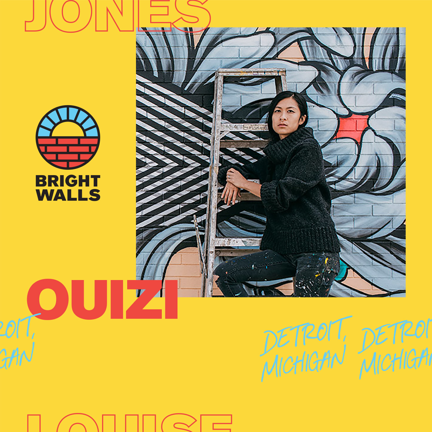 "OuiziDetroit, Michigan - Back by popular demand this year, Ouizi!Louise ""Ouizi"" Jones (formerly Chen) was born and raised in Los Angeles to Shanghainese parents. Her enormous site-specific floral murals can be seen in public spaces throughout the United States, from museums to public parks.Her background in drawing and printmaking uniquely informs her mural techniques and her style is deeply influenced by her Chinese background. Her obsession with flowers continues to grow, stemming from an early introduction to Georgia O'Keeffe and fond memories of picking figs with her grandmother.Louise has worked with many brands and organizations including Shinola, Lululemon, Smithsonian, Movement Detroit, Grand Rapids Ballet and more. She currently lives and works in Detroit.Mural Partner: Consumers Energy"