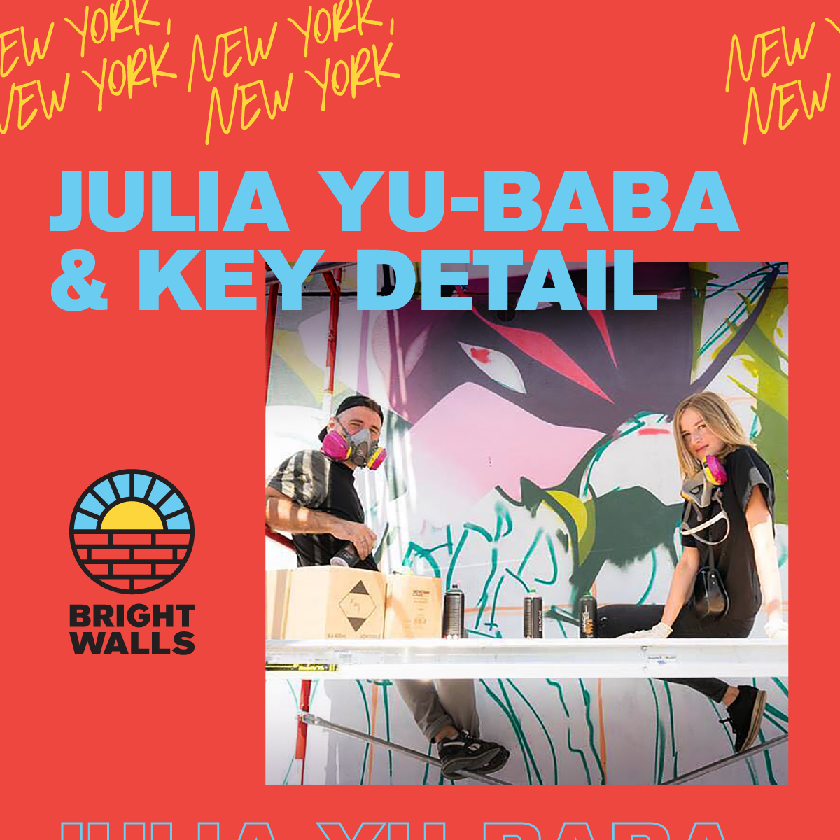 Julia YU-BABA& KEY DETAILNew York, New York - Meet Julia YU-BABA and KEY DETAIL, a husband and wife mural artist duo from Minsk, Belarus, currently living and working in New York City.YU-BABA and KEY DETAIL both studied Architecture and earned degrees from the Belarusian National Technical University. They combine their education and street art skills to create murals all over the world.Most of YU-BABA's murals are female portraits revealing women's energy, confidence and beauty. Her style involves gently folkloric or magical dream-like themes with a purpose of making the world more beautiful through the power of imagination.KEY DETAIL's art is a balanced concentration of emotional reflections on reality.Both YU-BABA and KEY DETAIL's work have been exhibited in mural festivals and galleries across the world and published in books and magazines.