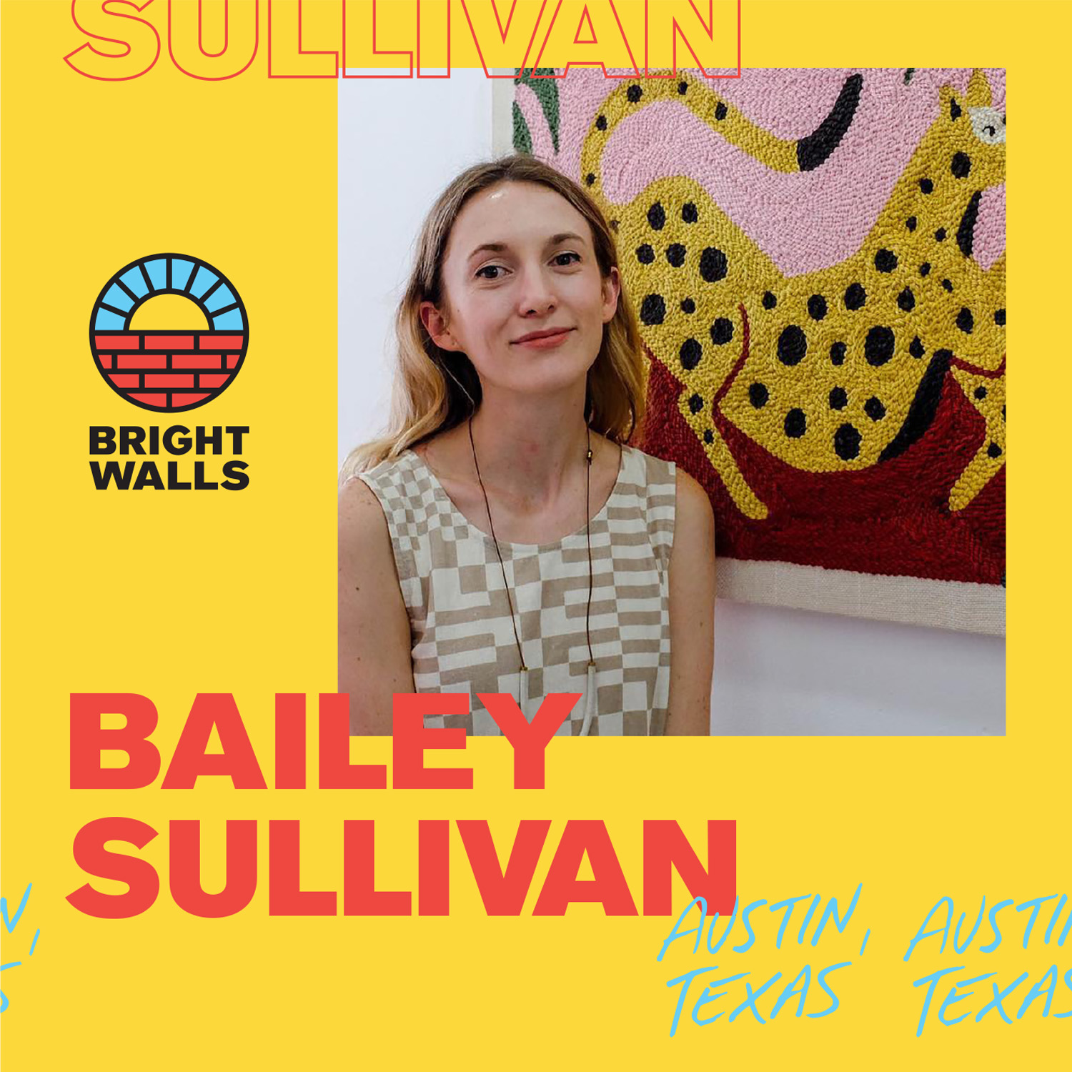 Bailey SullivanAustin, Texas - Bailey is a Texas-raised artist based in Brooklyn, New York. Her work re-interprets the ordinary through simplistic shapes, symmetry and bright colors.Inspired by nature, her illustrations often feature florals and animals. She has worked with a variety of clients including Facebook, Amazon, Planned Parenthood, JetBlue, Lowe's, Tesco and Refinery29.She is now experimenting with translating her work to textiles and other tangible mediums.