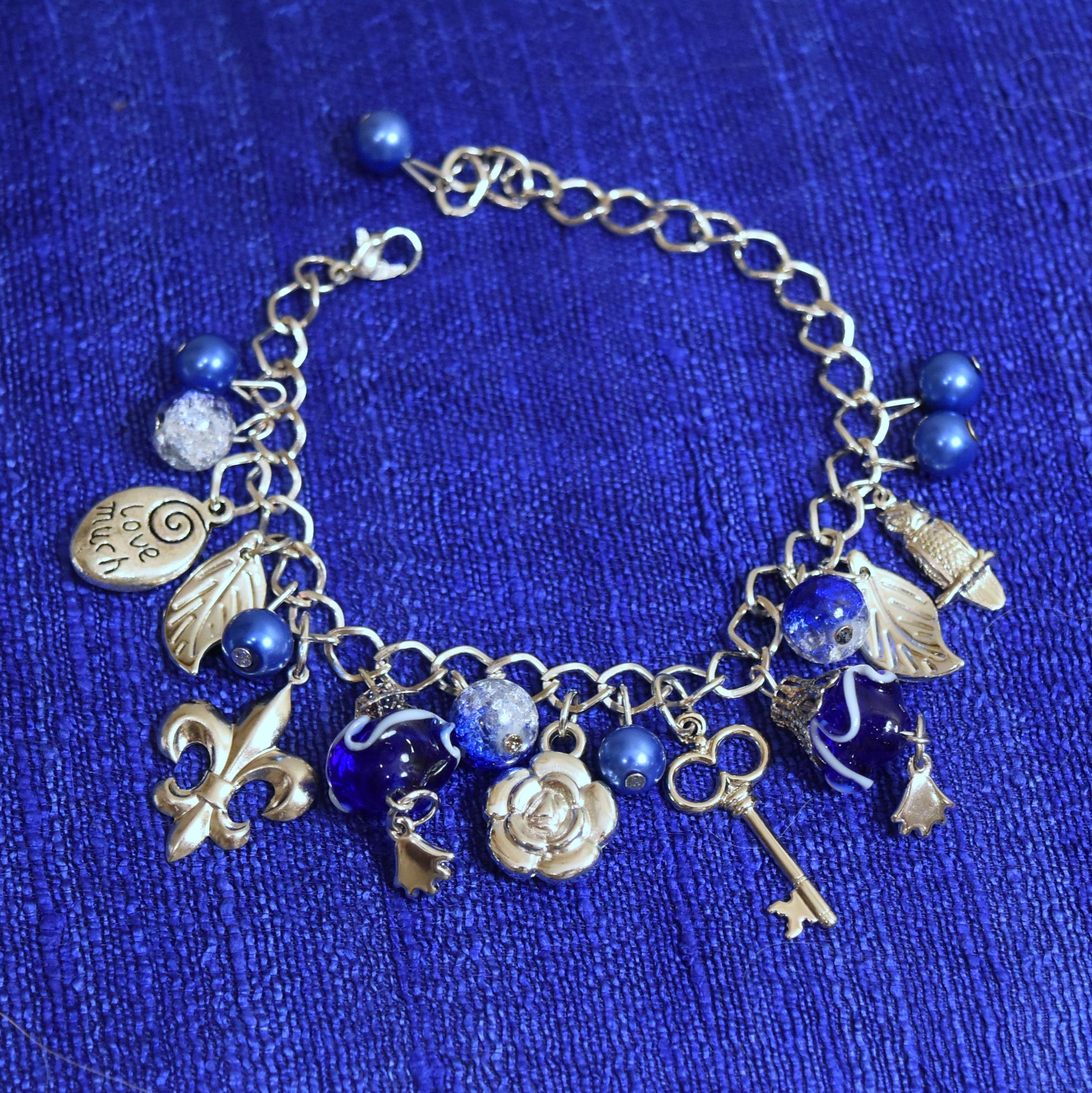 Fleur-De-Lis Charm Bracelet Blue//Silver Kappa Gamma KKG