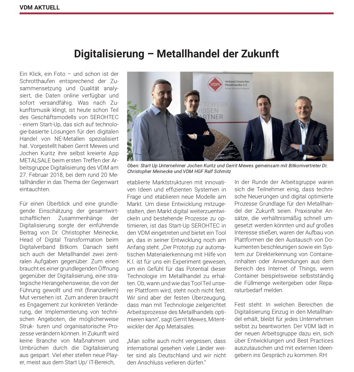 """Quelle: Magazin Verband Deutscher Metallhändler e.V. No. 684 """"111 Jahre VDM"""""""