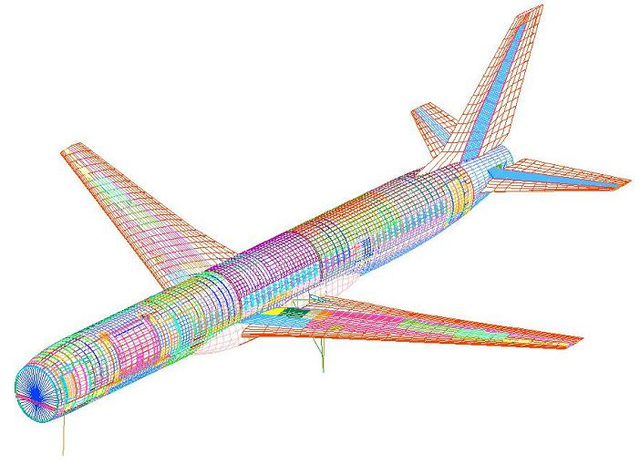 This is called a finite element model. The structural characteristics of the aircraft are modelled down to the last nut and bolt.