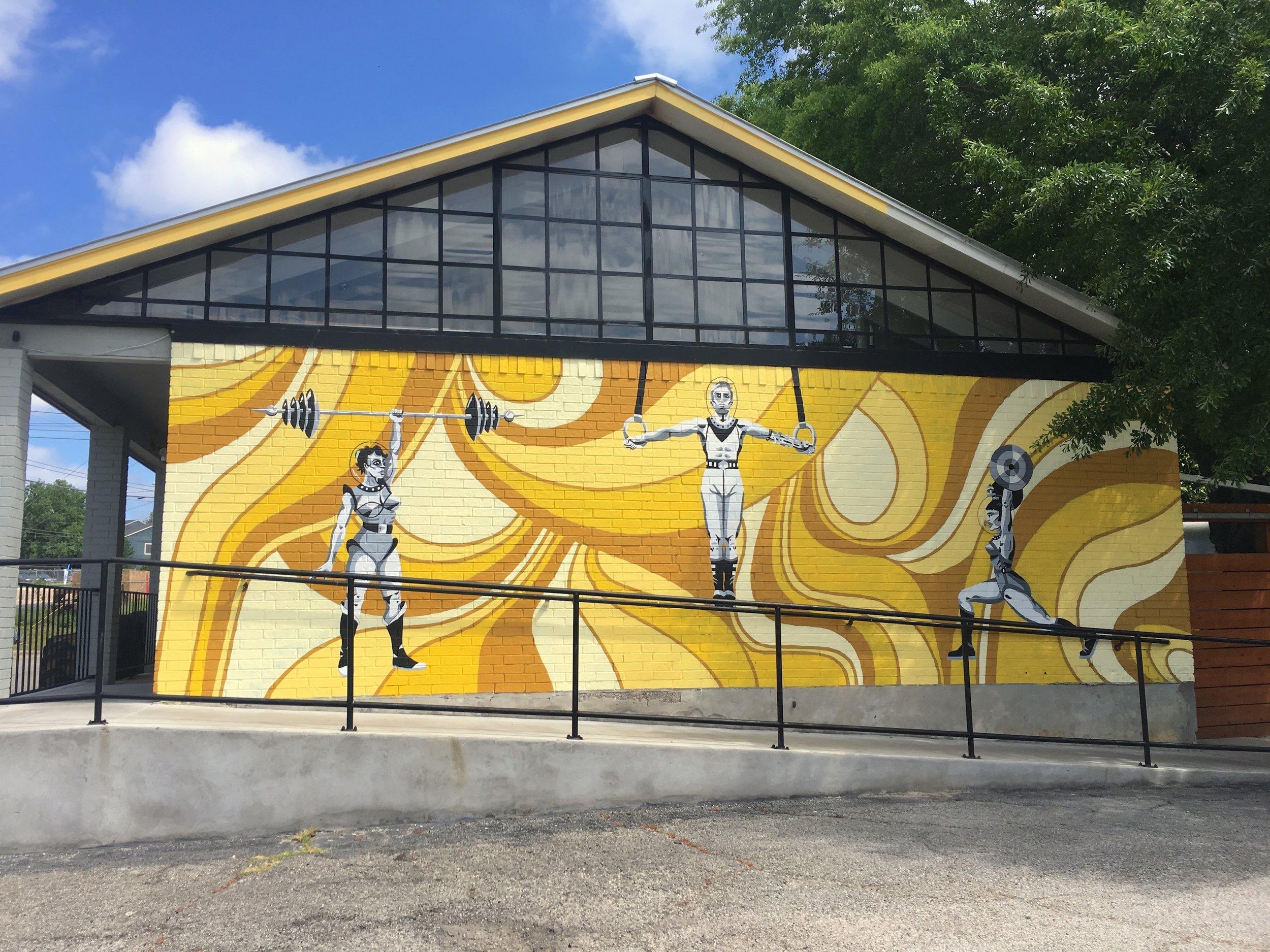 Space Lifters  for   Crossfit Lumos, 2415 Burleson Road, Austin, TX. 11 x 30 feet. 2019.