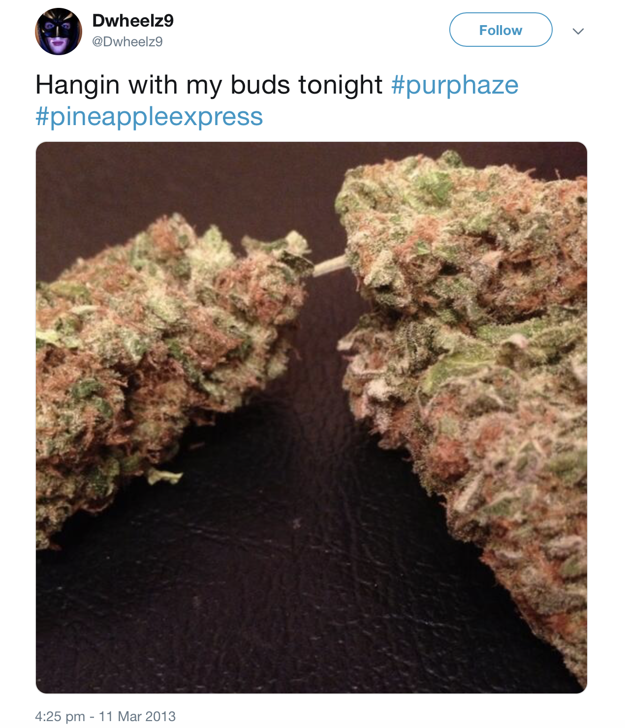 A 2013 Tweet from Wheeler sharing a picture of some of his cannabis.