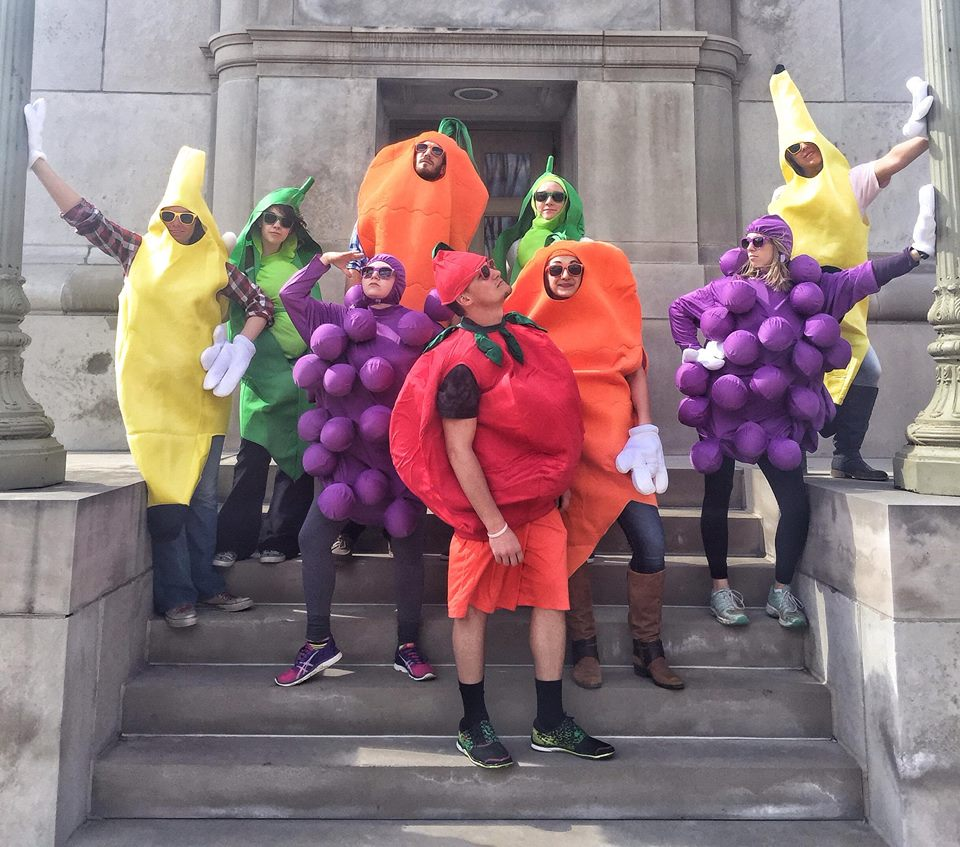 Some healthy eating activists dressed as fruit.