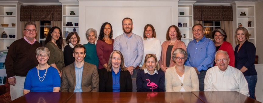 (back row) Welles Hatch – Treasurer, Danae Laura, Leah Levinger, Elaine DiCicco – Secretary, Hanna Bruno, Nick Carter, Deborah Mayerson, Jeanne DeTemple, Paul Ressler, Priscilla Sturges, Julie Hagan (front row) Lucy Miller, Travis Minor – Assistant Chair, Janet Rhodes-Friedman, Bee Loprete – Chair, Devra Feshbach-Meriney, Al Powers –  Assistant Treasurer  (not in photo: Ken Anderson, Ed Bernard, Dorrie Bean, Molly Eberle, Tom Rutledge and David Gould)