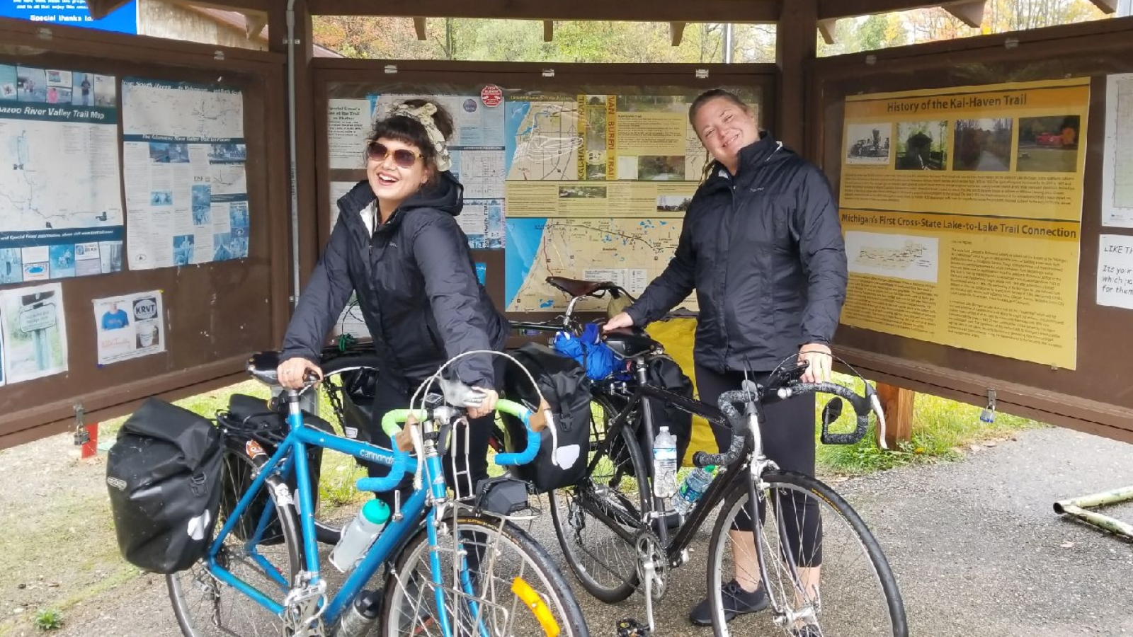 Wheelhouse Detroit general manager Tatiana Pastor (L) on a bike tour with owner Kelli Kavanaugh