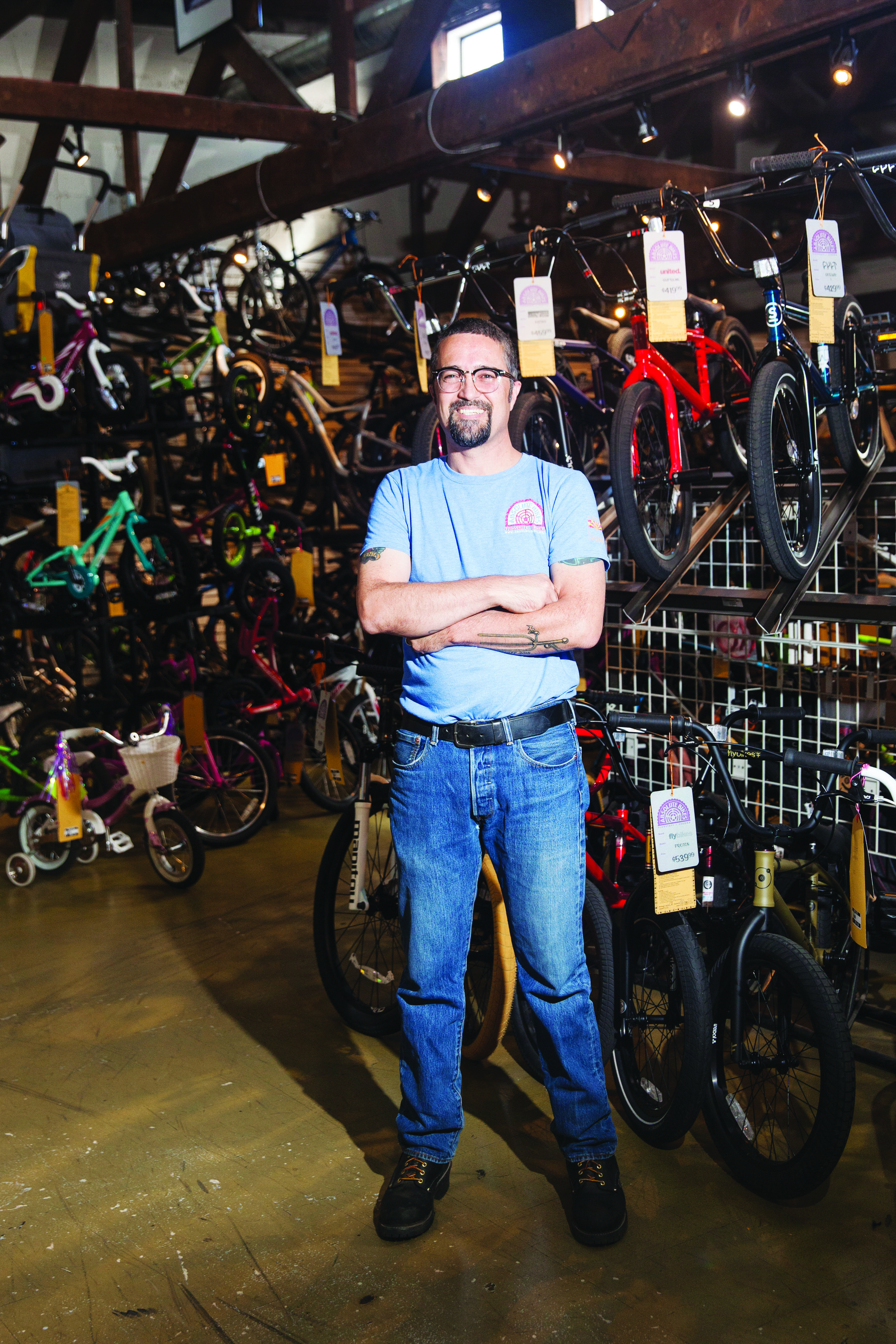"""""""Local bike shops add value to bikes by advocating for improved bike infrastructure, by servicing bikes so they keep running and, at the simplest level, by being visible and reminding the public of how great bikes really are,"""" shop manager Anthony Quintile says."""