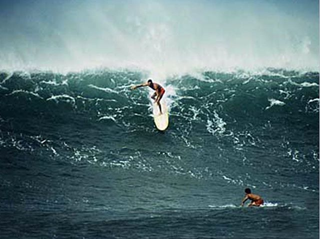 """The biggest waves I ever rode were on the Rocket — Sunset, Laniakea, Makaha Point, and the biggest day of any in my memory was January 12, 1959 at Point Makaha. I had so much confidence in this board that I never felt, once I was trimming across and set into the face, that it could not make it to the end of the curl line. On that day of the 12th, it was the first time I heard my rail hum like you hear when a skeg's trailing edge is not sufficiently shaped down. I determined, after much thought, that you can go so fast down a wave that although the front of the board is pointing down, if the outer rail is lower than the inside rail, the board will slide sideways faster than it moves forward, making the inside edge the stern. The hum I heard was from the inner rail leaving the wave face like the back of a skeg. Riding this board taught me everything I have learned about drag-curve factors in a surfboard. The Rocket allowed me to go fast enough to identify the dragging curves of rails and bottom rockers."" George Downing • George Downing. Photo By Leroy Grannis ⠀⠀⠀⠀⠀⠀ ⠀⠀⠀⠀⠀⠀⠀⠀⠀ ⠀⠀⠀⠀⠀⠀⠀⠀⠀ ⠀⠀⠀⠀⠀⠀⠀⠀⠀ ⠀⠀⠀⠀⠀⠀⠀⠀ ⠀⠀⠀⠀⠀⠀⠀⠀⠀ ⠀⠀⠀⠀⠀⠀⠀⠀⠀ ⠀⠀⠀⠀⠀⠀⠀⠀ #podaloha #aloha #surfing #surflegend #hero #bigwavepioneer #georgedowning #icon #masterofsurf #surfhistory #podcast #hawaiian #dukekahanamoku #spiritofaloha #surf #hawaii"