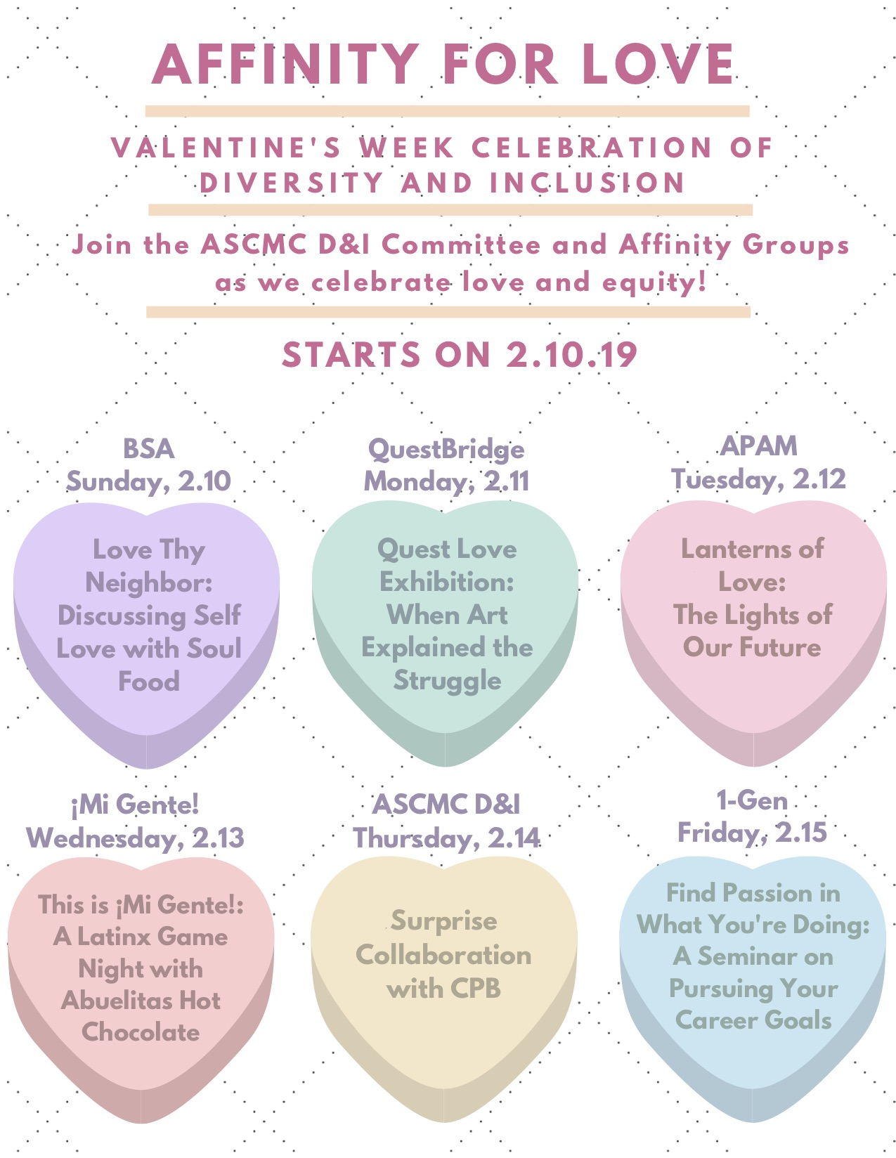 Flyer for Affinity for Love week sent by email to CMC students.