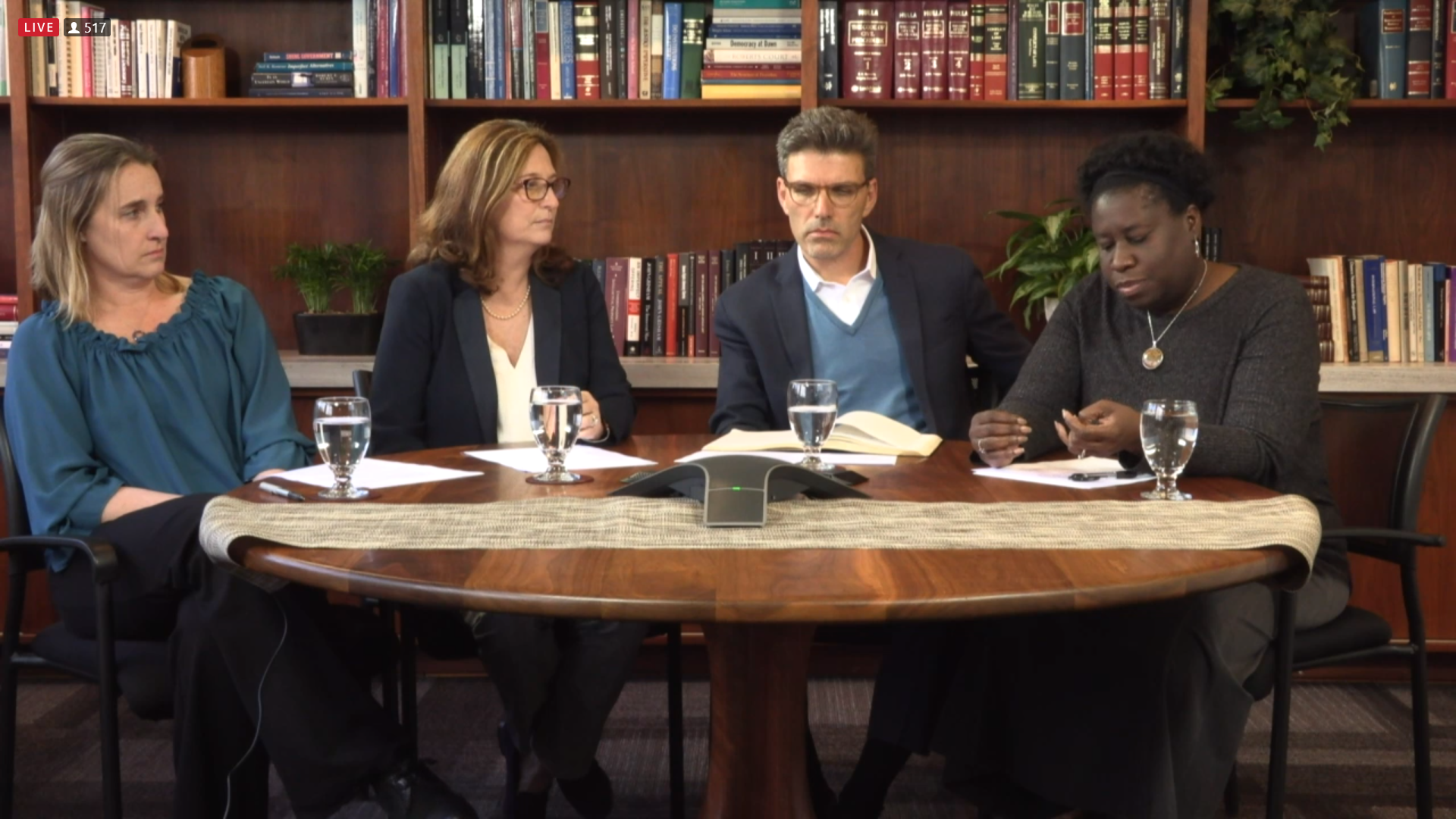 Assistant Vice President and Dean of Students Dianna Graves, Vice President of Student Affairs Sharon Basso, President Hiram Chodosh, Assistant Vice President for Diversity and Inclusion Nyree Gray speak during the livestream.