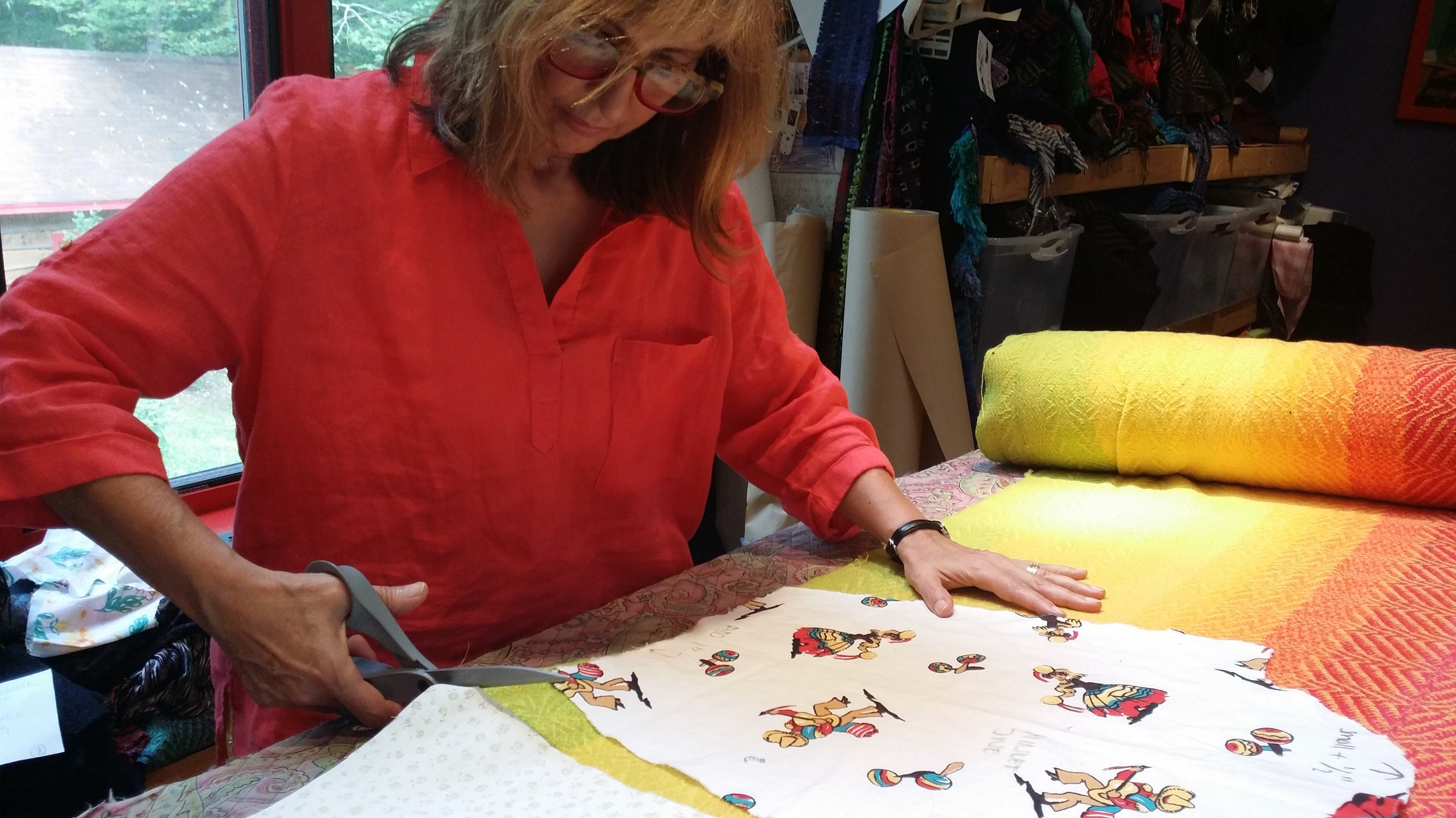 Cutting pieces, so scary - We are always developing new designs, and when we find one we love we make a pattern.This is our last chance to make any fabric combination decisions. And then we sew it up!