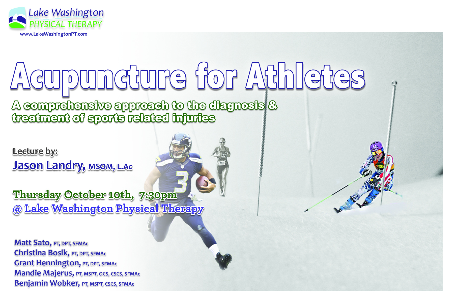 Dr. Jason Landry, LAcAcupuncture for Athletes - Dr. Landry lectured on the team approach and the most effective way to integrate acupuncture into the clinical team. For more on Dr. Landry (click here)