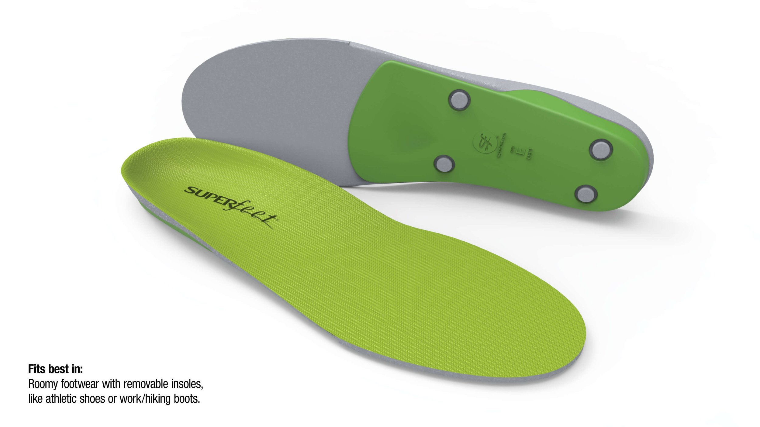Superfeet Green - DURABLE CONSTRUCTIONSuperfeet insoles keep their shape, delivering reliable support and comfort for up to 12 months or 500 miles, whichever comes firstDEEP HEEL CUPFeatures the widest and deepest heel cup that offers maximum support and can help with natural shock absorptionSUPERFEET® SHAPEA high profile shape to help stabilize and support the foot, which can help reduce stress on feet, ankles and kneesHIGH-DENSITY FOAMClosed-cell foam supports and cushions the foot for long lasting comfort.ORGANIC, ODOR-CONTROL COATINGAll natural coating that eliminates odor-causing bacteriaSTABILIZER CAPActs as the base of the insole that supports the rearfoot and provides structure and stability to the foam layer