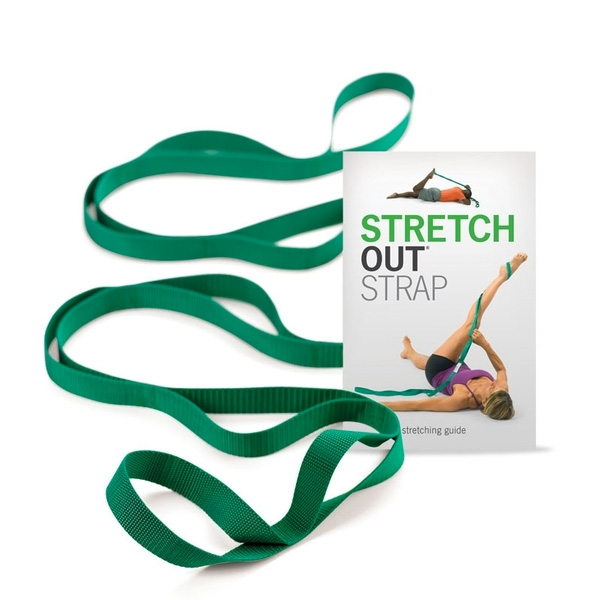 Stretch Out Strap - The patented Stretch Out Strap™ delivers the benefits of assisted stretching without a partner. Multiple loops permit deep, gradual stretching of major muscle groups with greater safety, control and effectiveness than is possible unaided.The 2nd edition stretching exercise booklet includes more than 30 stretches featuring contract-relax techniques, new color photos and how-to illustrations for quick reference. Perfect for more effective warm-up stretches before sports, or the ideal stretching regimen for yoga and fitness to achieve greater flexibility and range of motion in core muscles, the back, leg, arm, shoulder, hamstring and more.