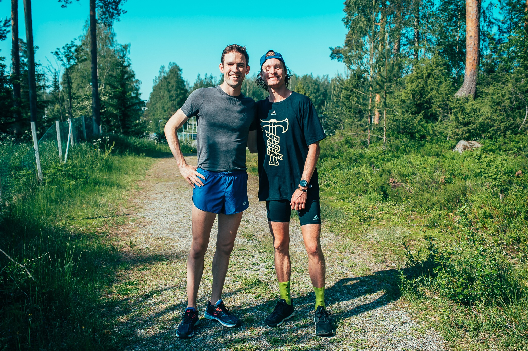 Drew and Johnny Gregorek (3:49 miler) in Oslo, pre-race.