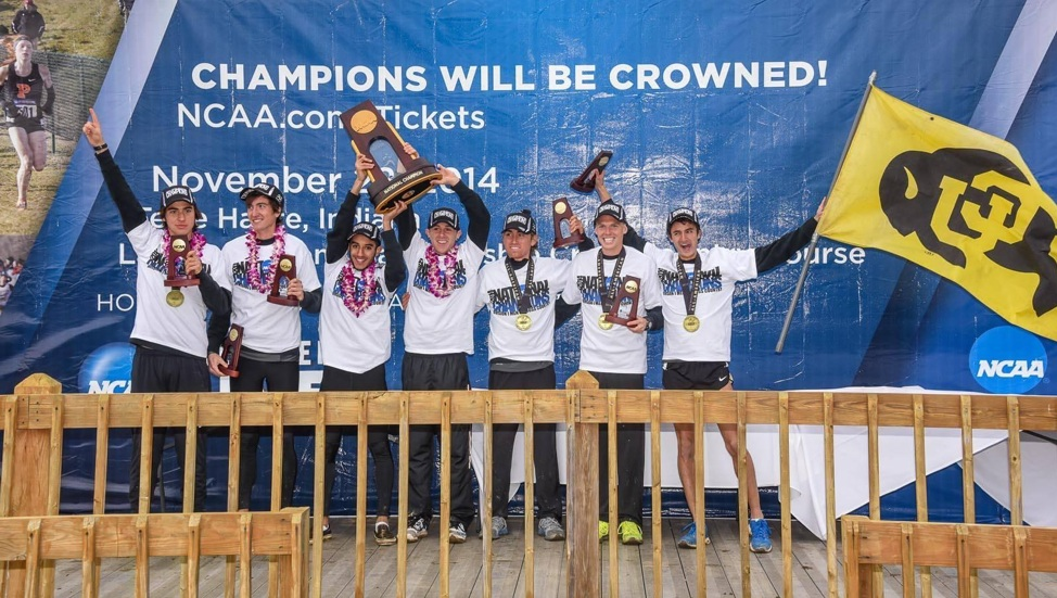 Connor and the Buffs celebrating their victory at the 2014 NCAA Cross Country Championships.