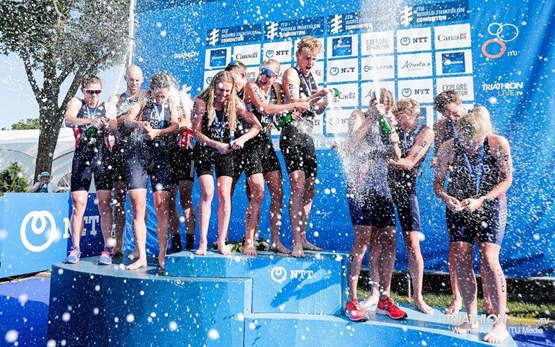 Morgan celebrating on the podium with Team USA.
