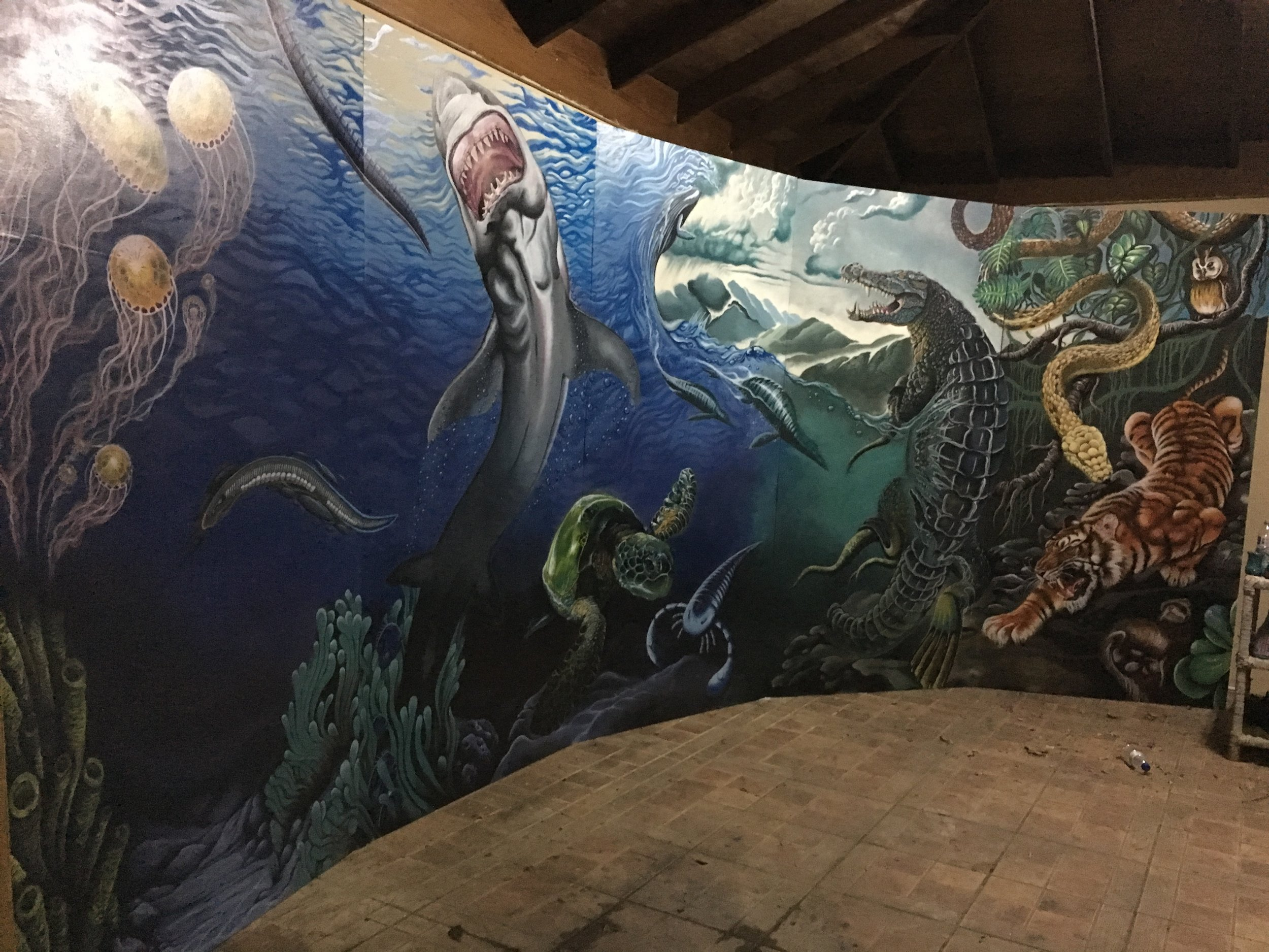Leighton J. C. Estick.   Emergence to Breathe   (From Origin). 2018. Acrylic and Emulsion paints on Plywood panels. 8' x 8'.
