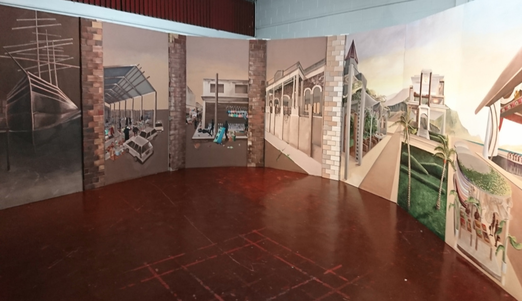 Tiana Anglin,   Metroparadise (Transitional Installation view),   2018, Emulsion paints on plywood panels.