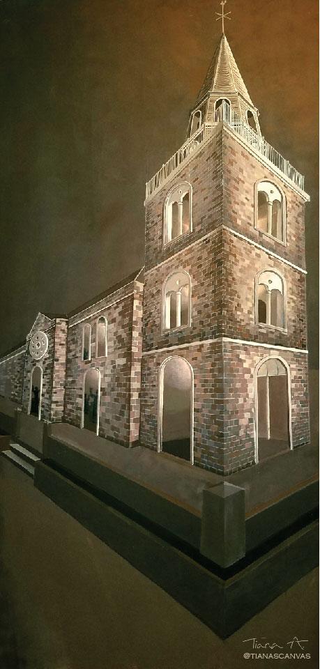 Tiana Anglin,   Kingston Parish Church (Pre-1907),   2018, Emulsion paints on plywood panel. 8' x 4'.