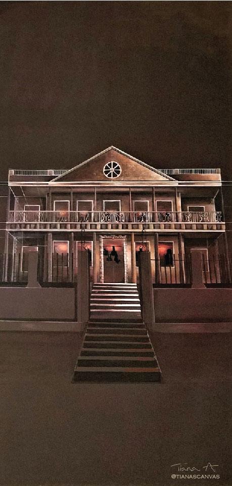 Tiana Anglin,   Hibbert Headquarters (Pre-1907),   2018, Emulsion paints on plywood panel. 8' x 4'.