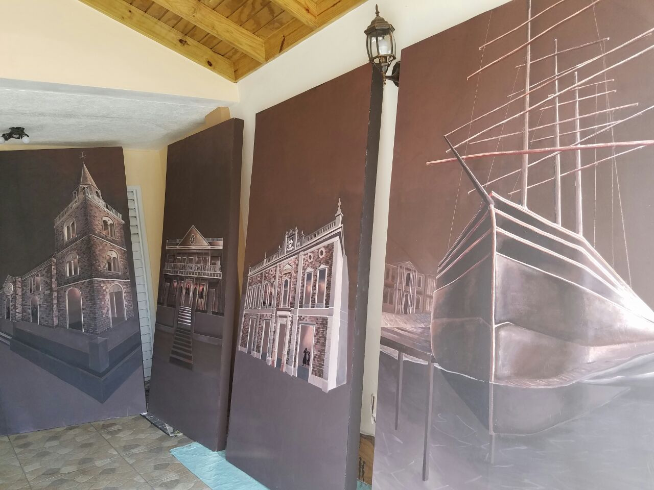 Tiana Anglin, from left   Kingston Parish Church, Hibbert House, The Theatre Royal   and   Kingston Harbour (Pre-1907),   2018, Emulsion paints on plywood panel. 8' x 4' each.