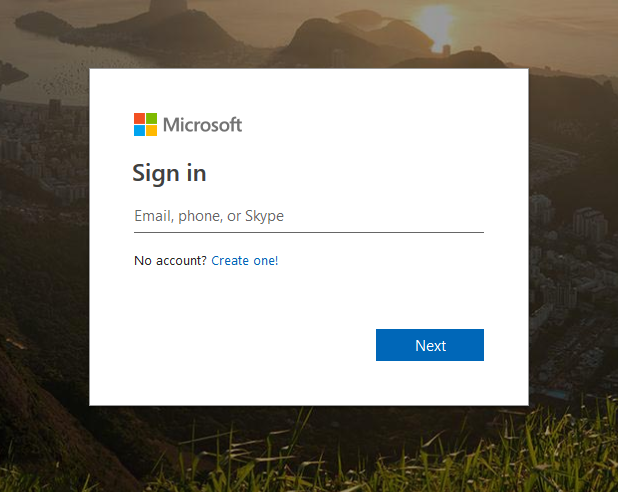 Microsoft Account Sign In Screen